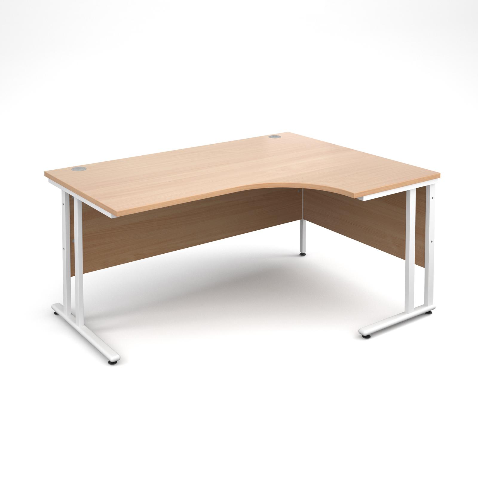 Maestro 25 WL right hand ergonomic desk 1600mm - white cantilever frame, beech top