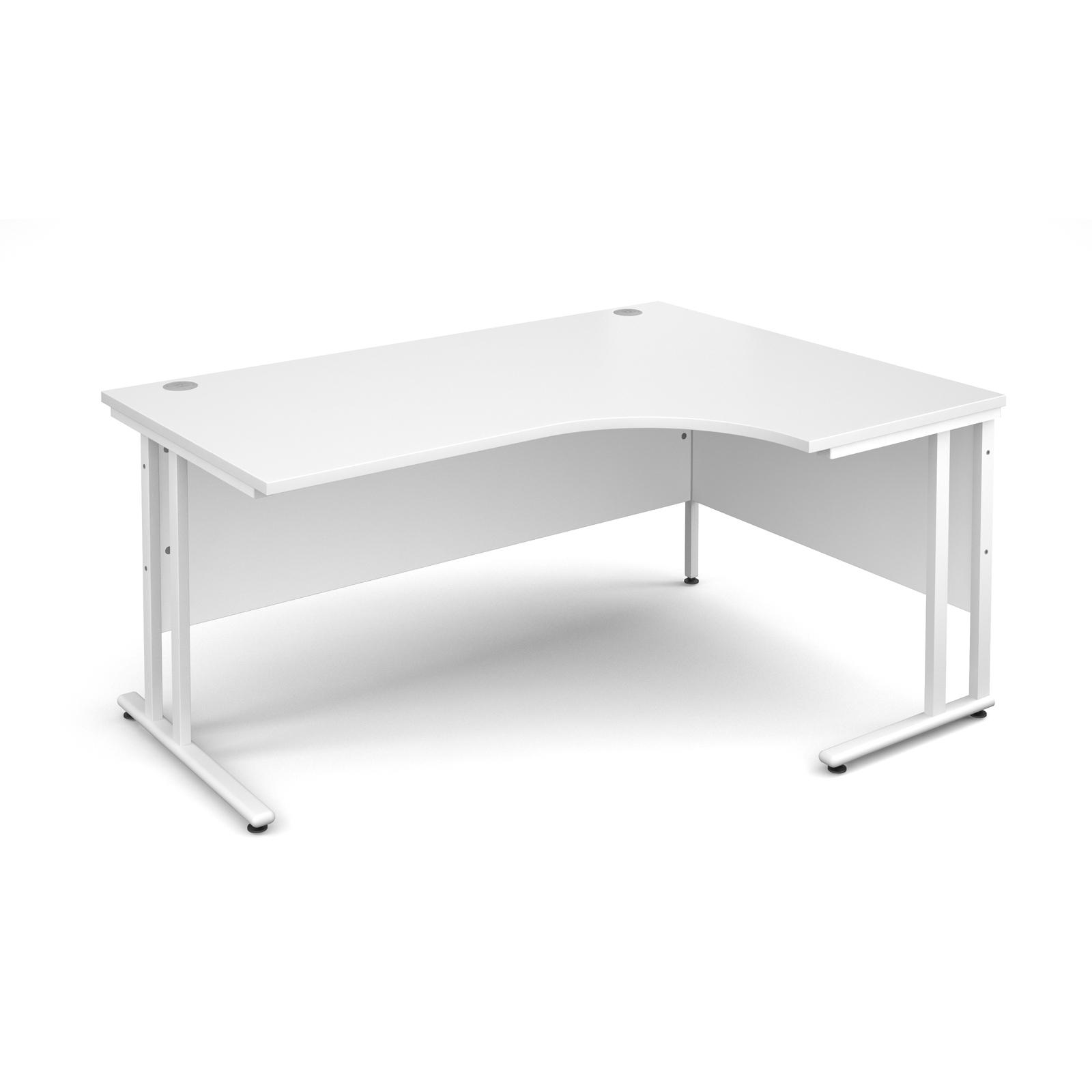 Maestro 25 WL right hand ergonomic desk 1600mm - white cantilever frame, white top