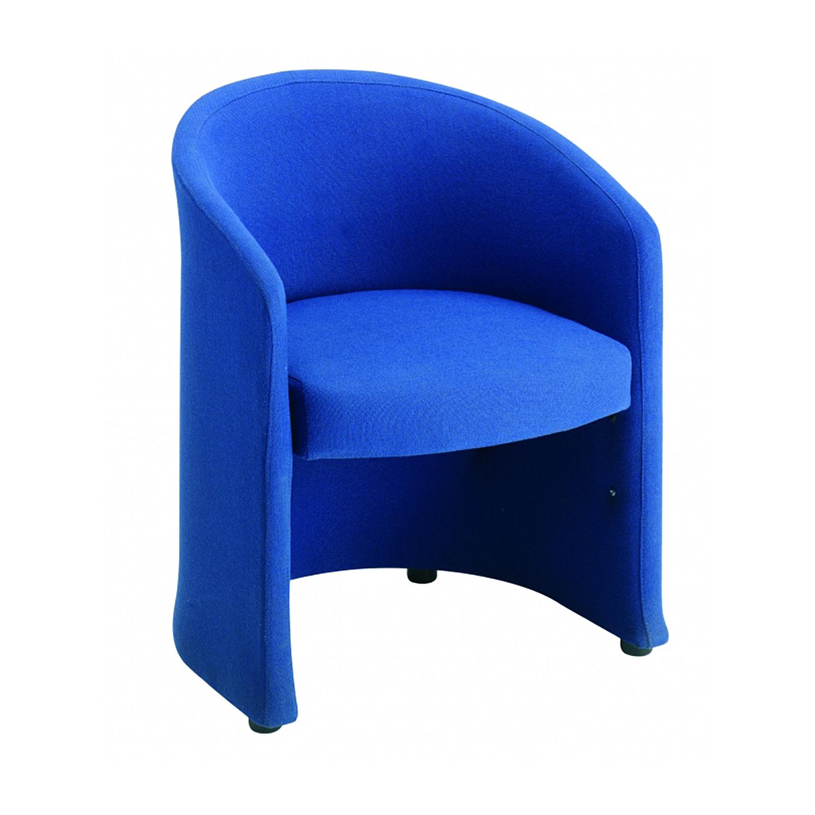 Slender fabric reception single tub chair 620mm wide - blue