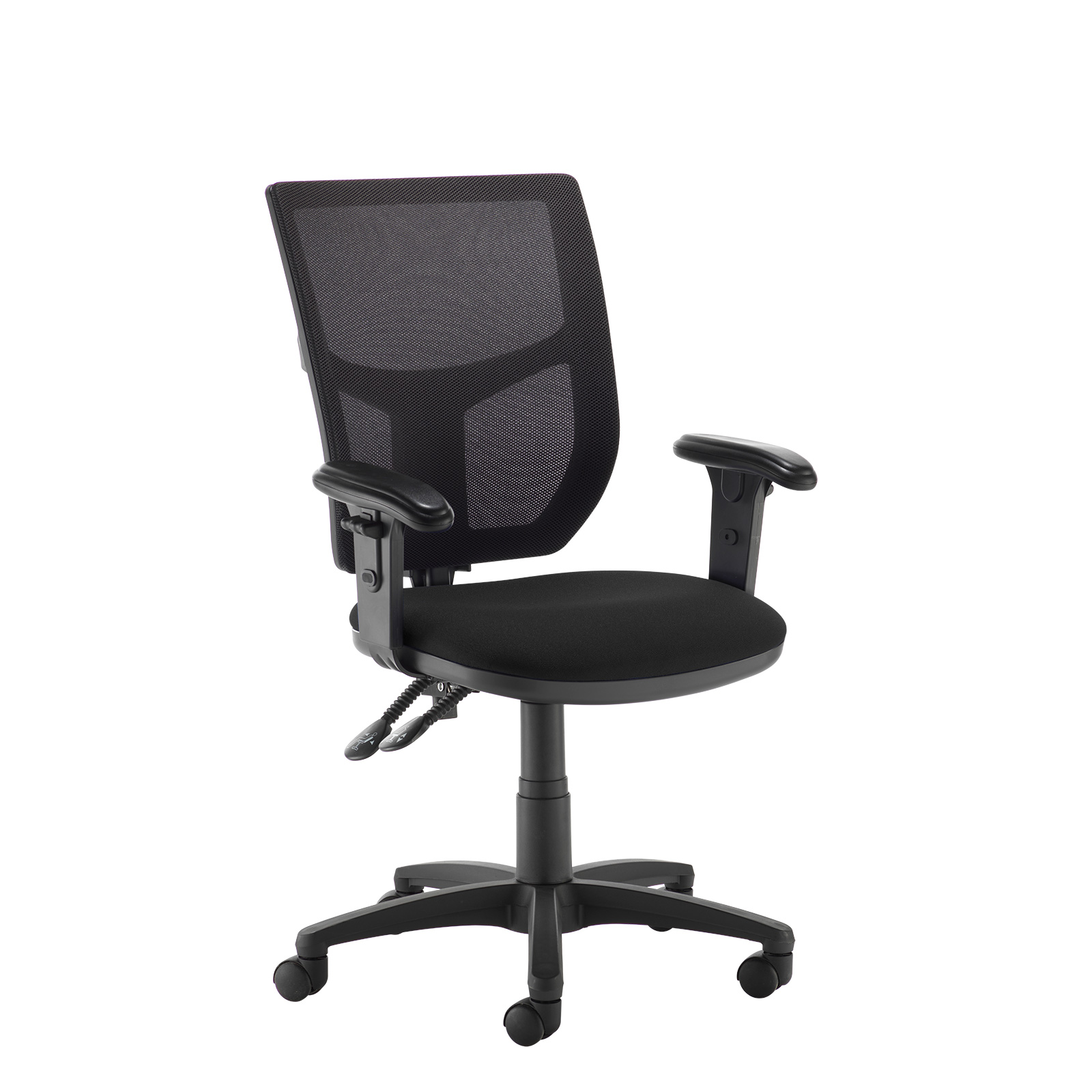Desk Chairs Altino 2 lever high mesh back operators chair with adjustable arms - black