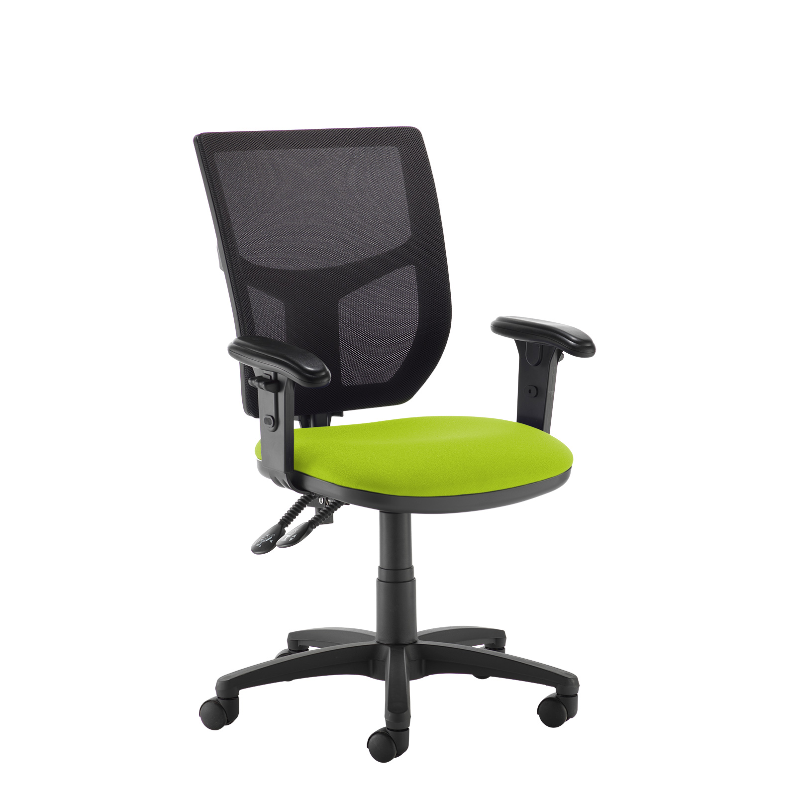 Altino 2 lever high mesh back operators chair with adjustable arms - green
