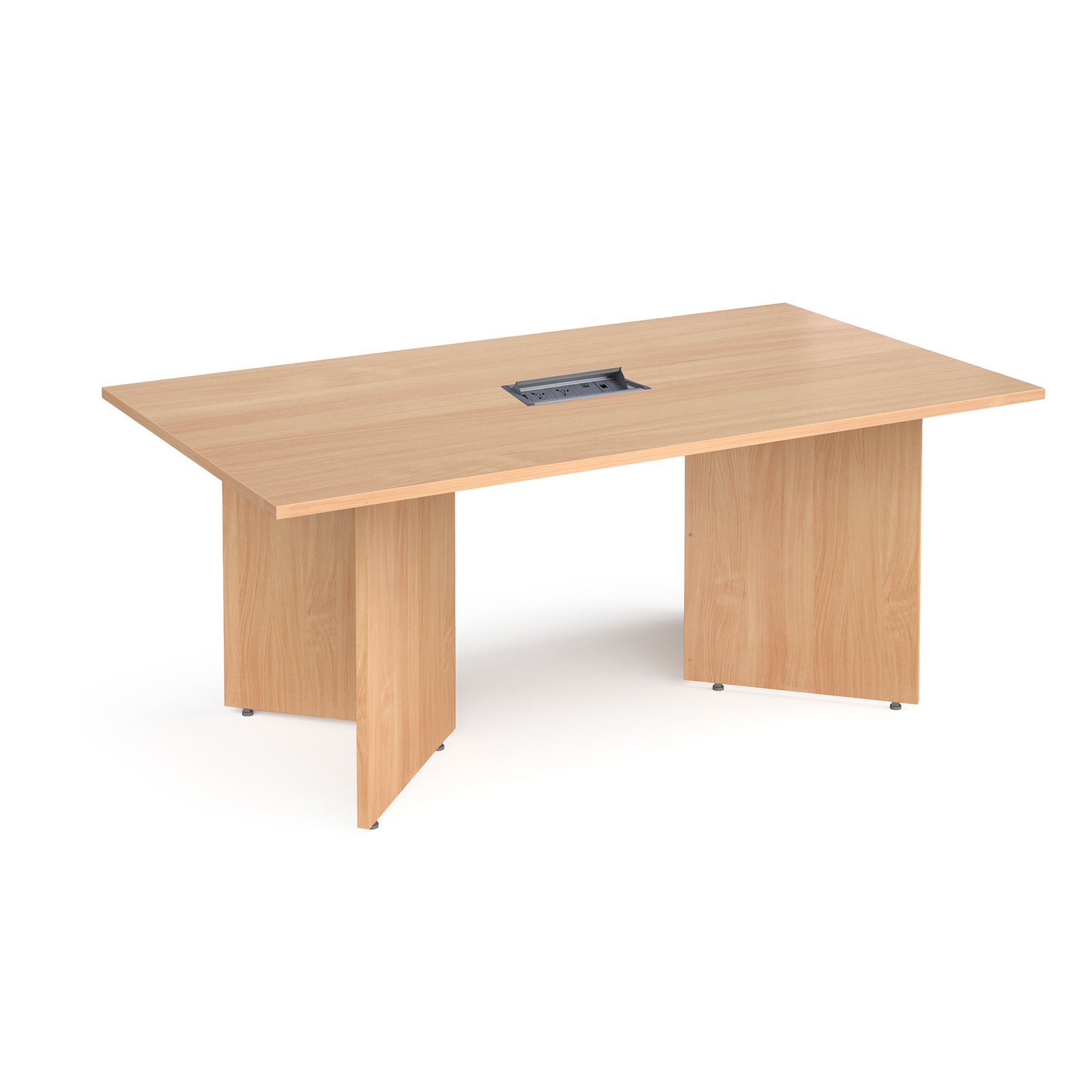 Boardroom / Meeting Arrow head leg rectangular boardroom table 1800mm x 1000mm in beech with central cutout and Aero power module