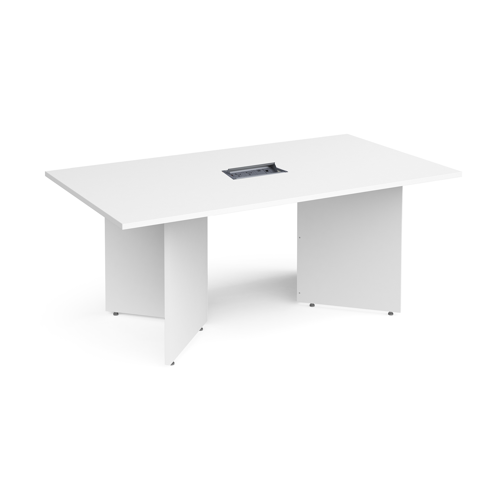 Boardroom / Meeting Arrow head leg rectangular boardroom table 1800mm x 1000mm in white with central cutout and Aero power module