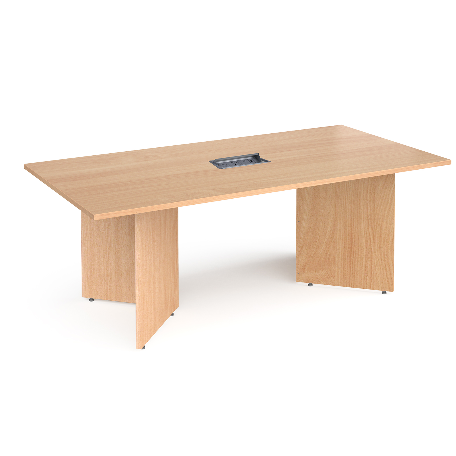 Boardroom / Meeting Arrow head leg rectangular boardroom table 2000mm x 1000mm in beech with central cutout and Aero power module
