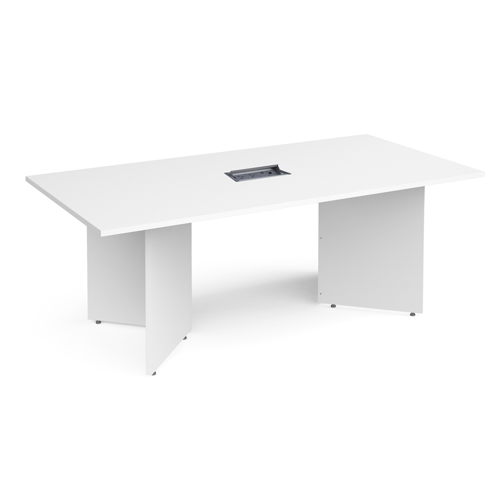 Boardroom / Meeting Arrow head leg rectangular boardroom table 2000mm x 1000mm in white with central cutout and Aero power module