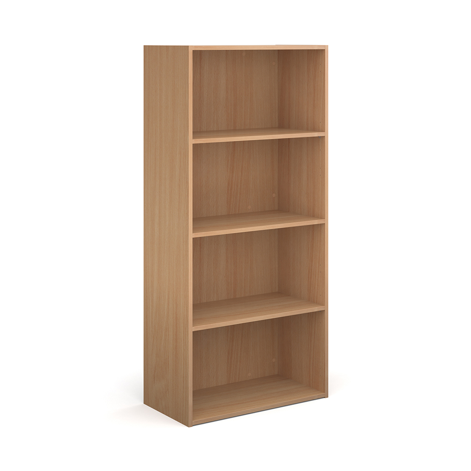 Contract bookcase 1630mm high with 3 shelves - beech
