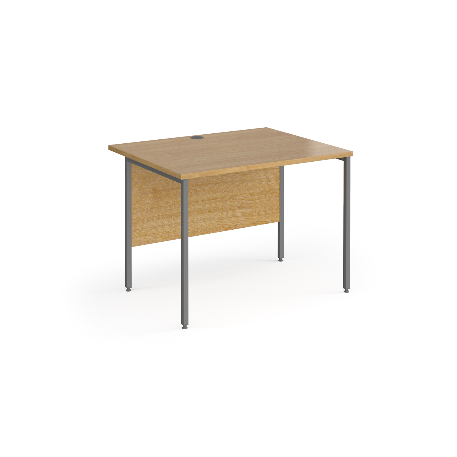 Contract 25 straight desk with graphite H-Frame leg 1000mm x 800mm - oak top