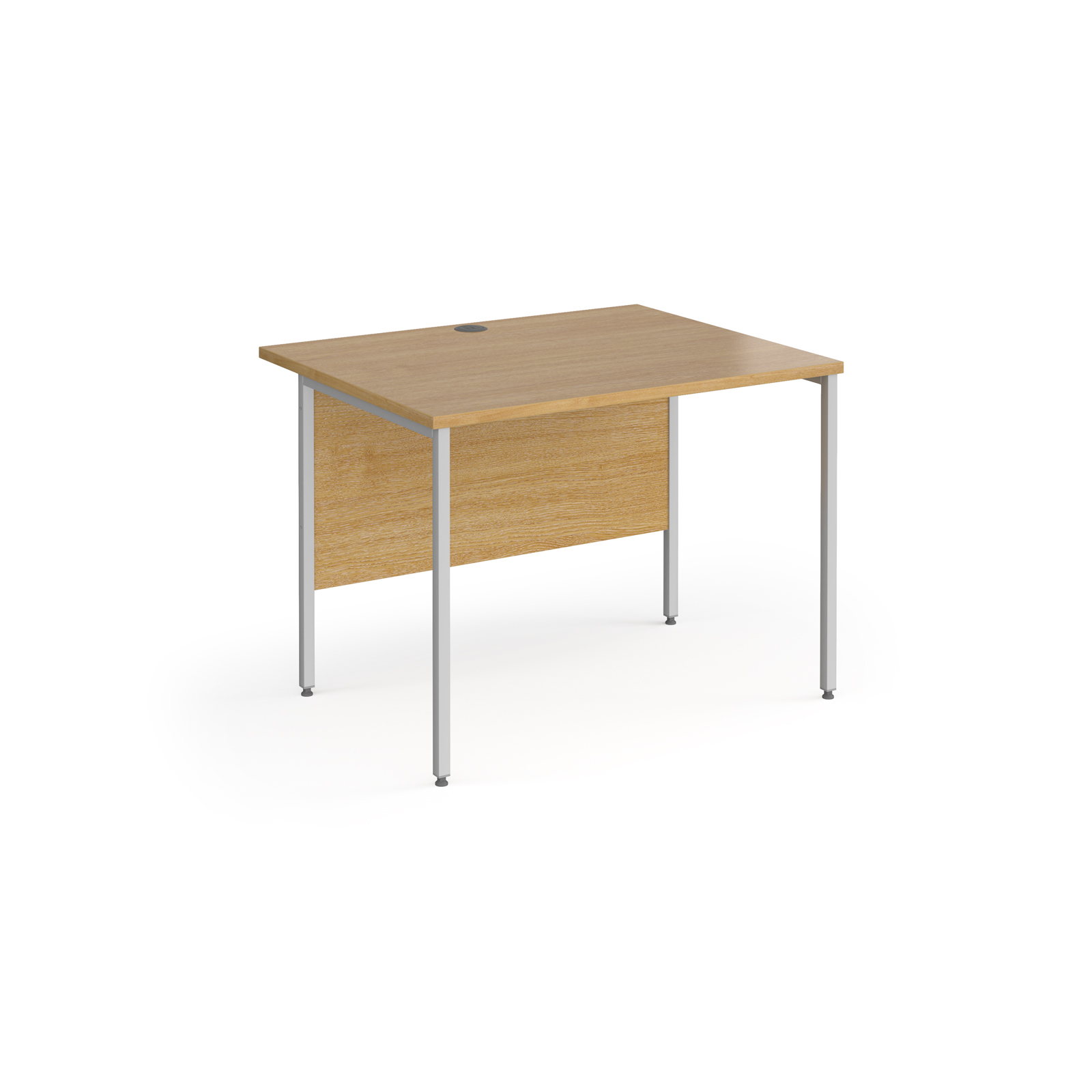 Contract 25 straight desk with silver H-Frame leg 1000mm x 800mm - oak top