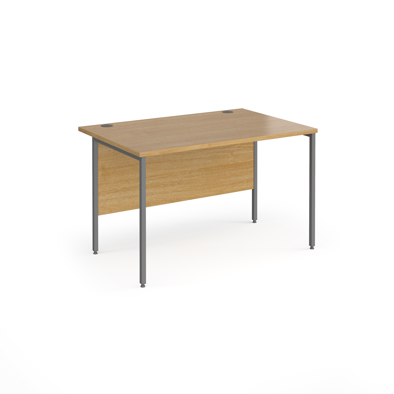 Contract 25 straight desk with graphite H-Frame leg 1200mm x 800mm - oak top