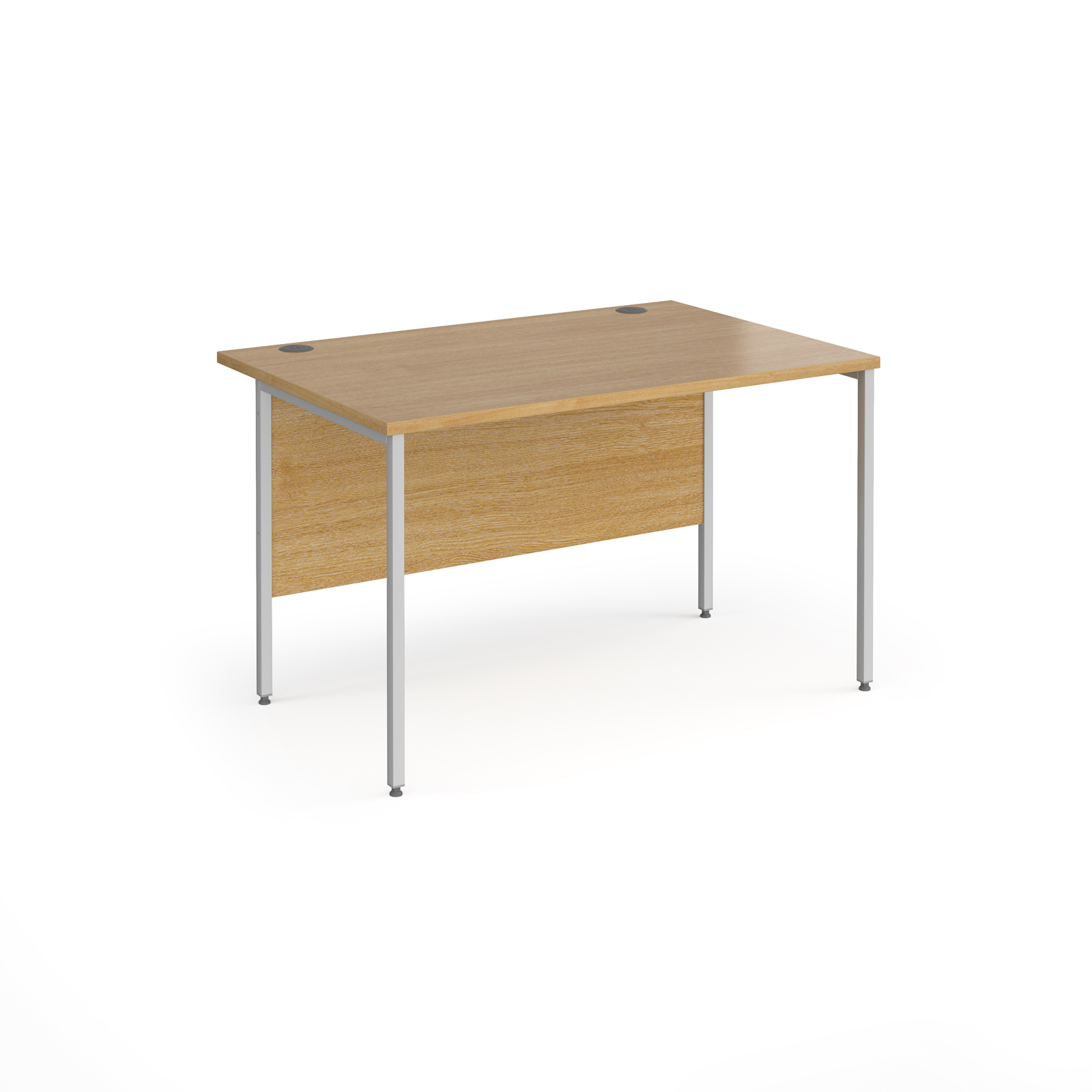 Contract 25 straight desk with silver H-Frame leg 1200mm x 800mm - oak top
