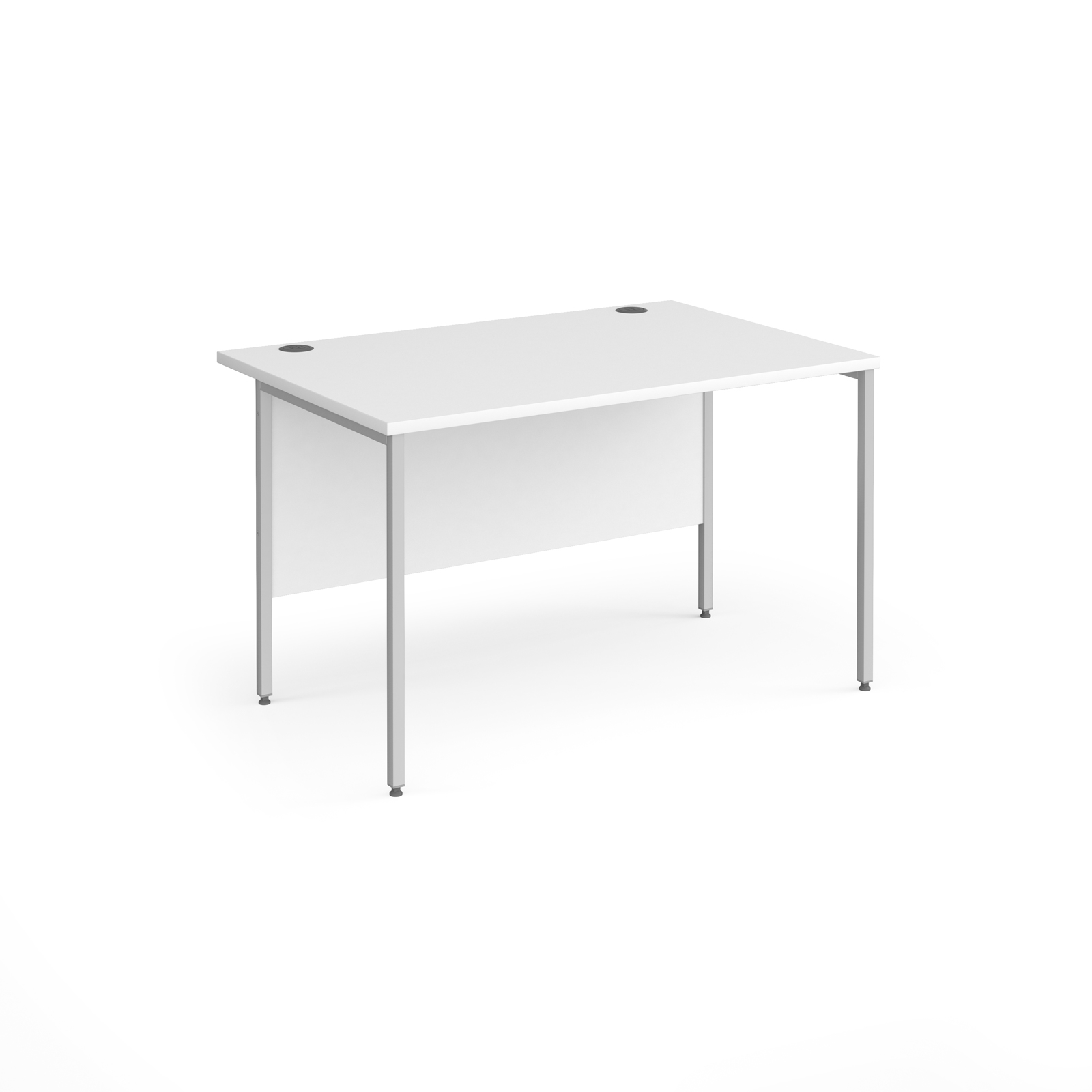 Contract 25 straight desk with silver H-Frame leg 1200mm x 800mm - white top