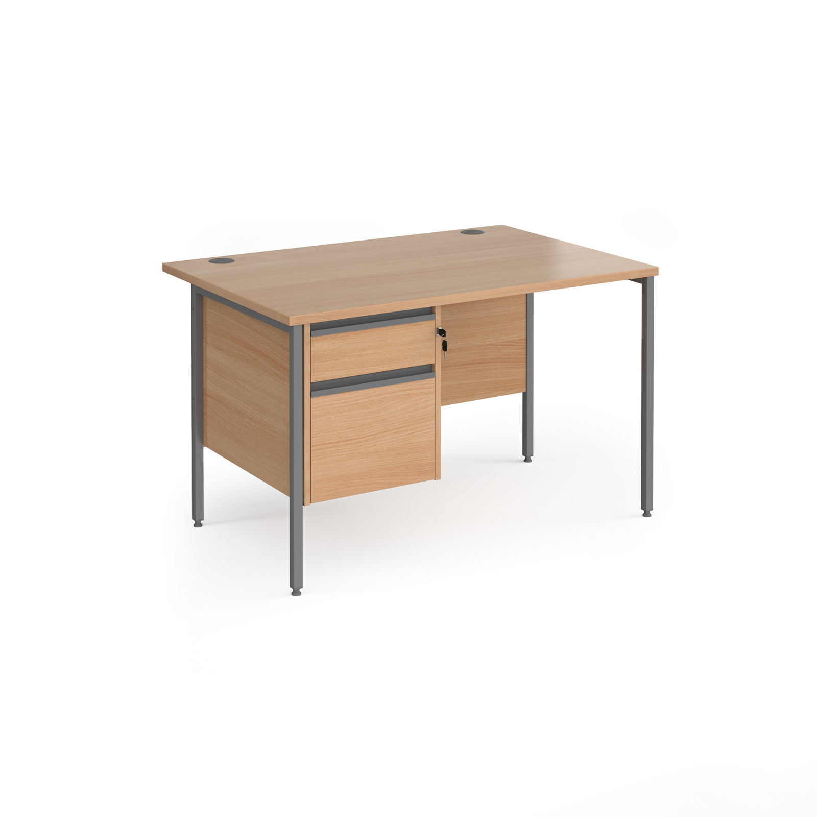 Contract 25 straight desk with 2 drawer pedestal and graphite H-Frame leg 1200mm x 800mm - beech top