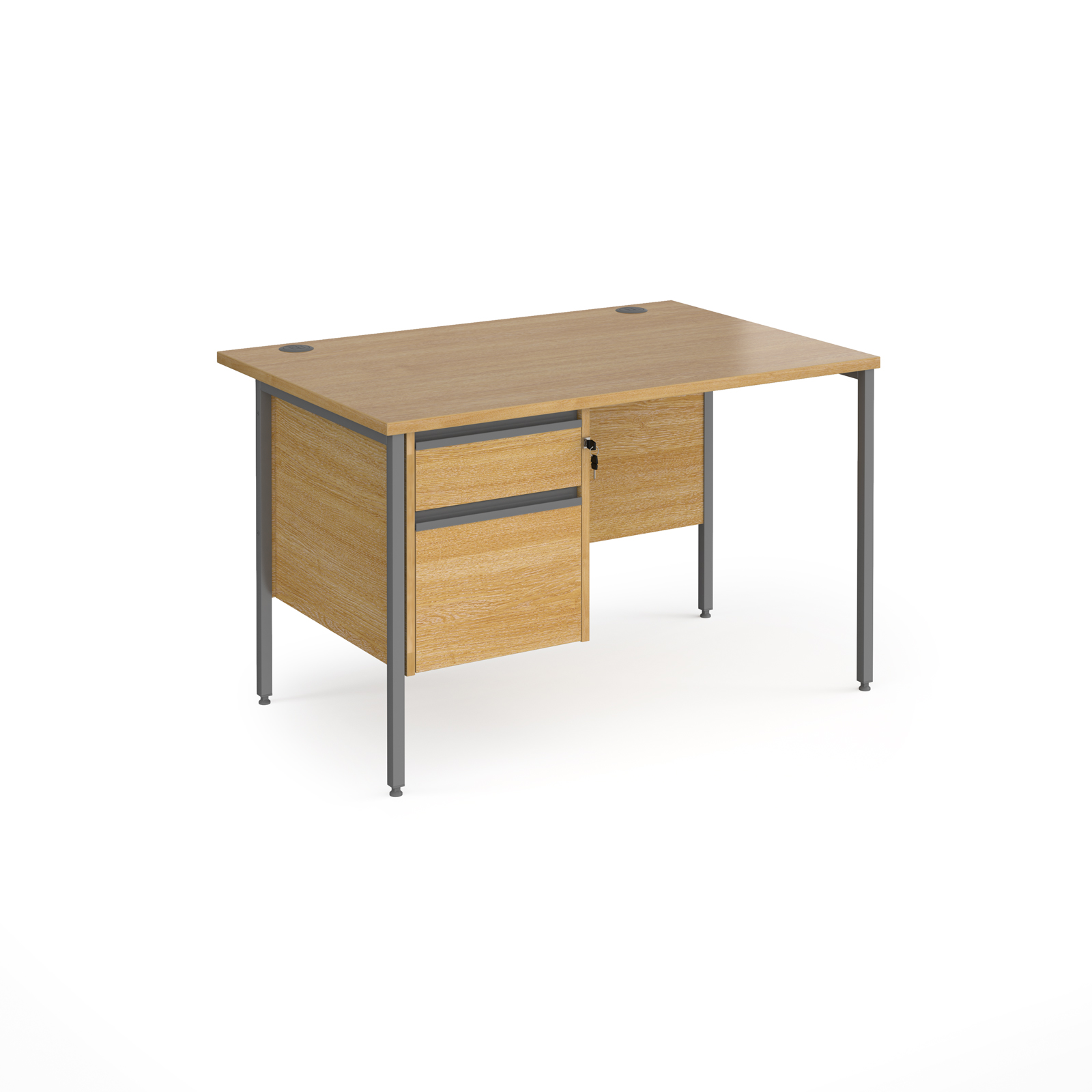 Contract 25 straight desk with 2 drawer pedestal and graphite H-Frame leg 1200mm x 800mm - oak top
