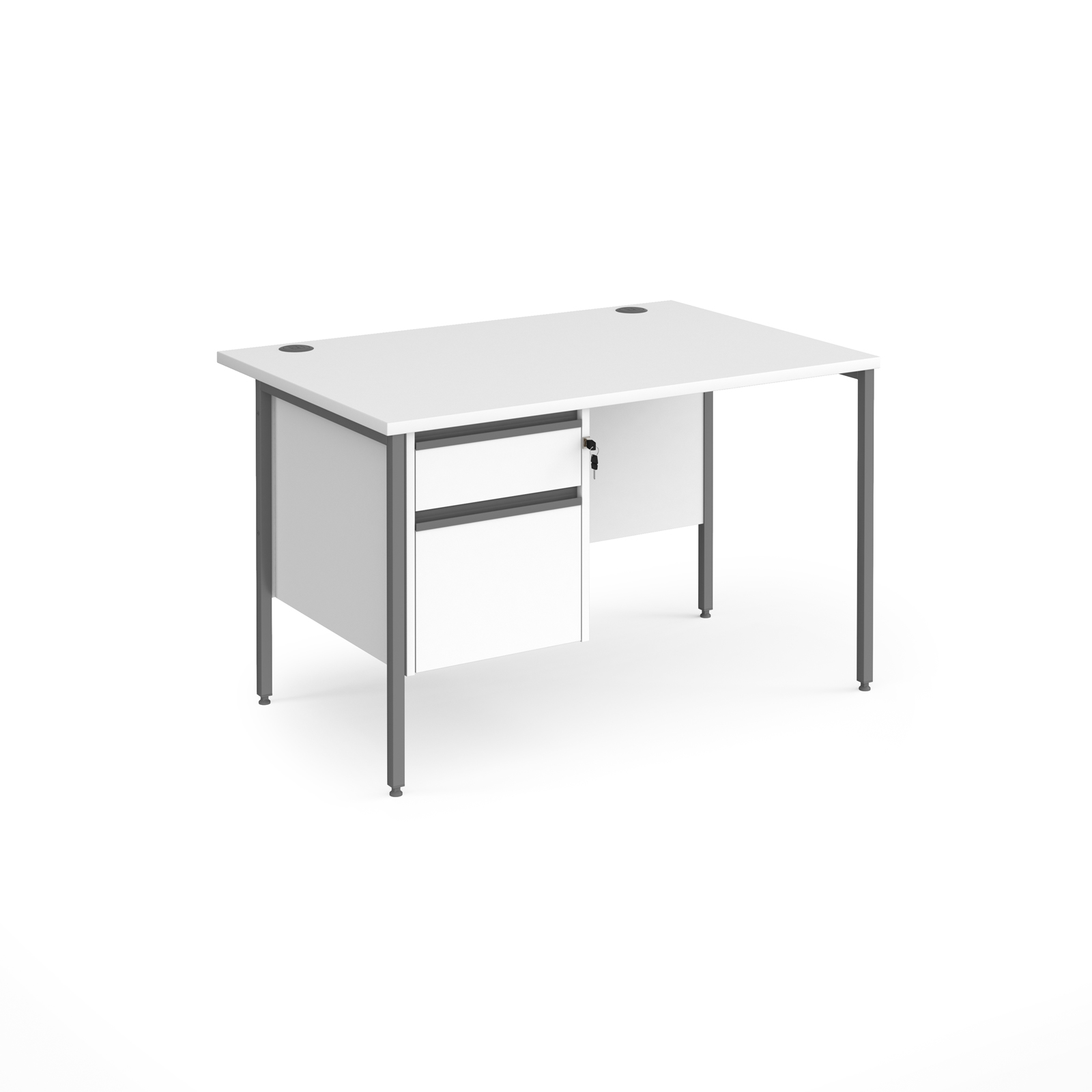 Contract 25 straight desk with 2 drawer pedestal and graphite H-Frame leg 1200mm x 800mm - white top