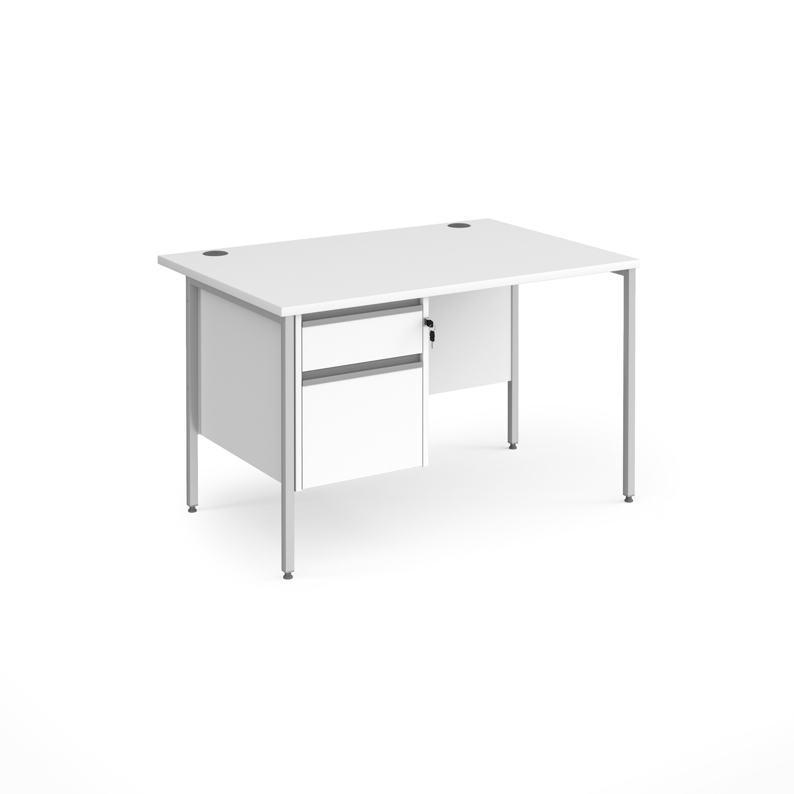 Contract 25 straight desk with 2 drawer pedestal and silver H-Frame leg 1200mm x 800mm - white top