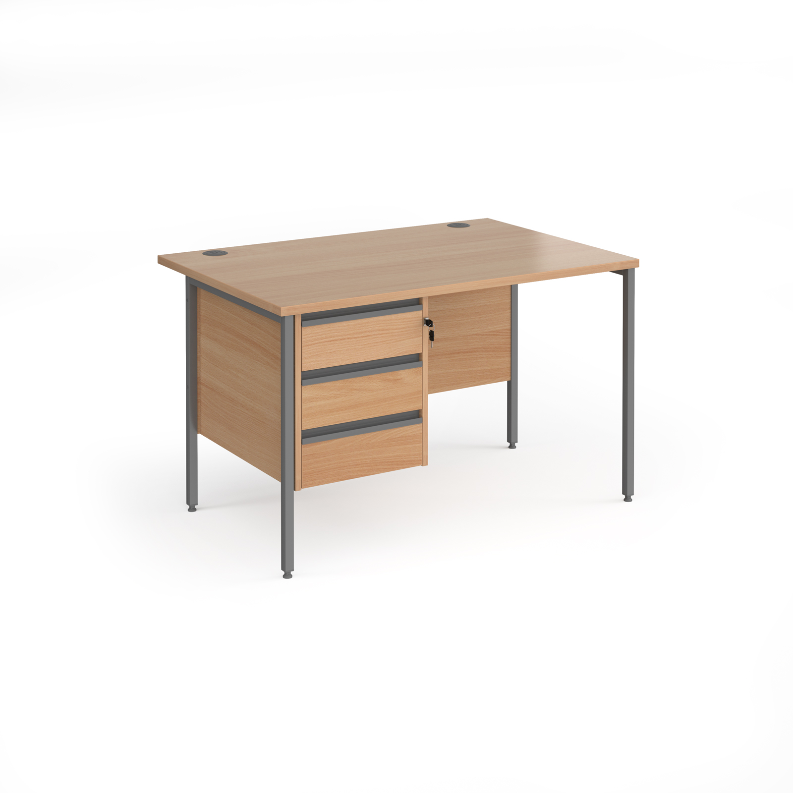 Contract 25 straight desk with 3 drawer pedestal and graphite H-Frame leg 1200mm x 800mm - beech top