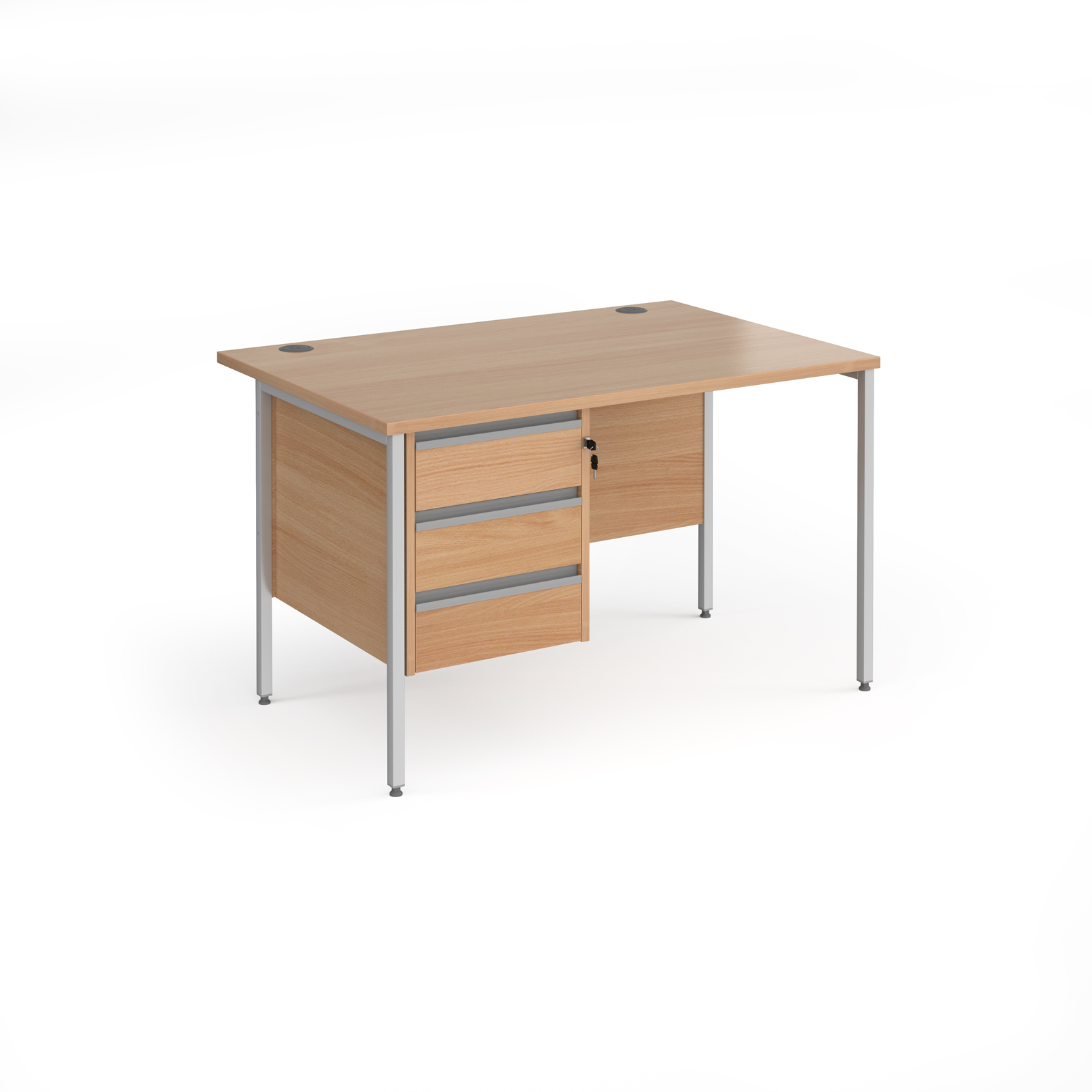 Contract 25 straight desk with 3 drawer pedestal and silver H-Frame leg 1200mm x 800mm - beech top