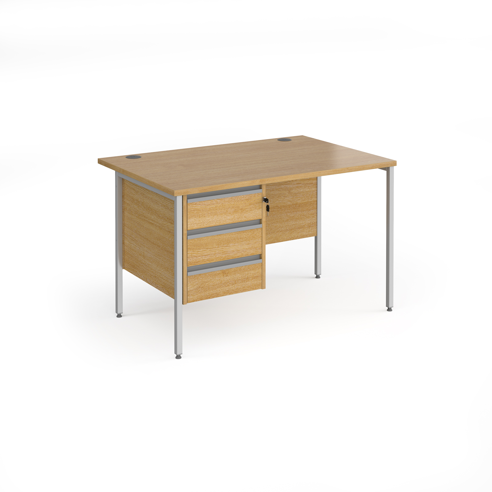 Contract 25 straight desk with 3 drawer pedestal and silver H-Frame leg 1200mm x 800mm - oak top