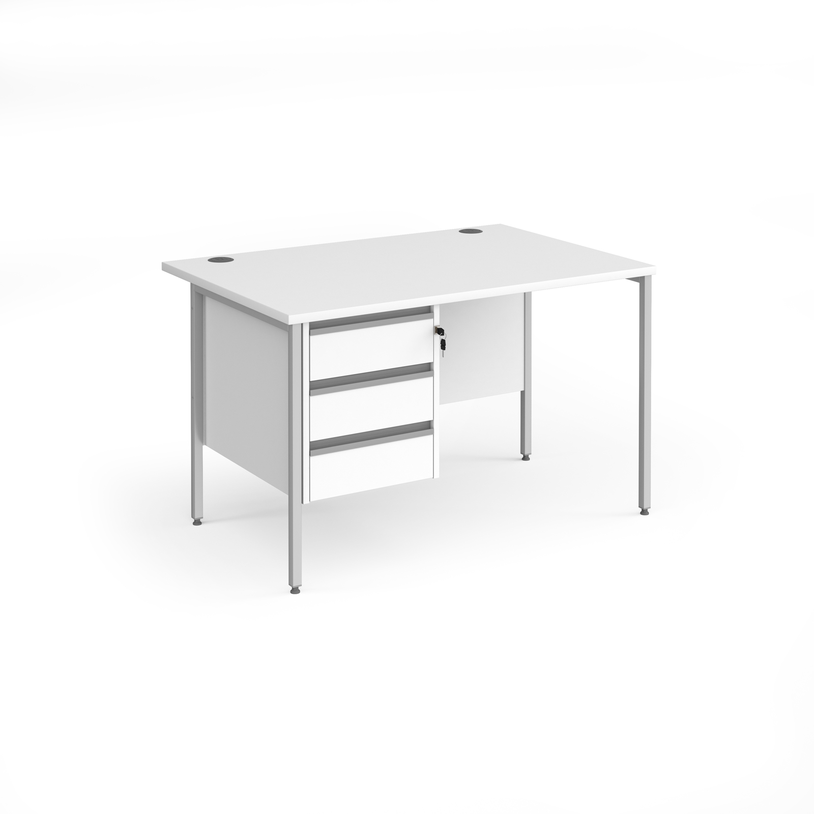 Contract 25 straight desk with 3 drawer pedestal and silver H-Frame leg 1200mm x 800mm - white top