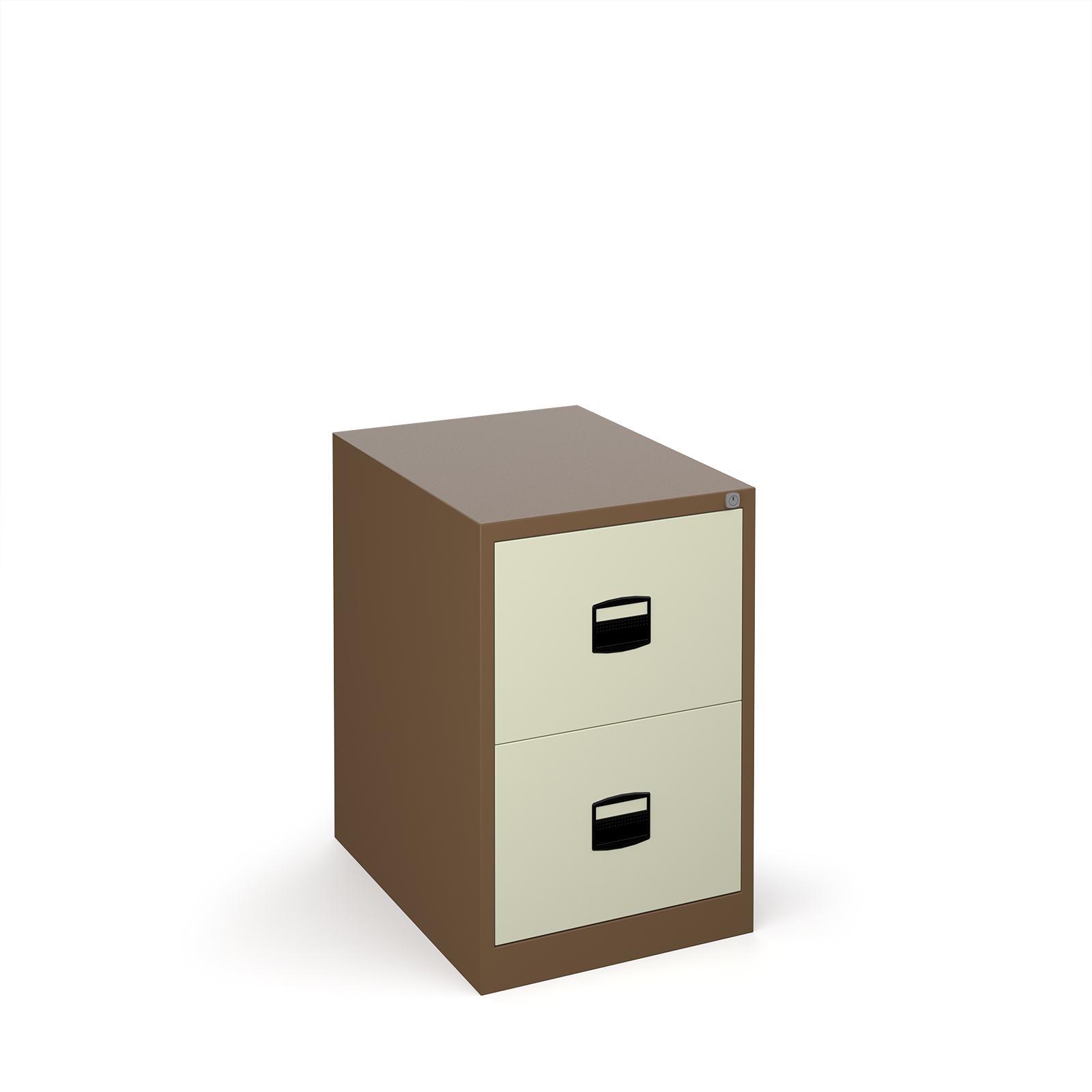Steel Steel 2 drawer contract filing cabinet 711mm high - coffee/cream