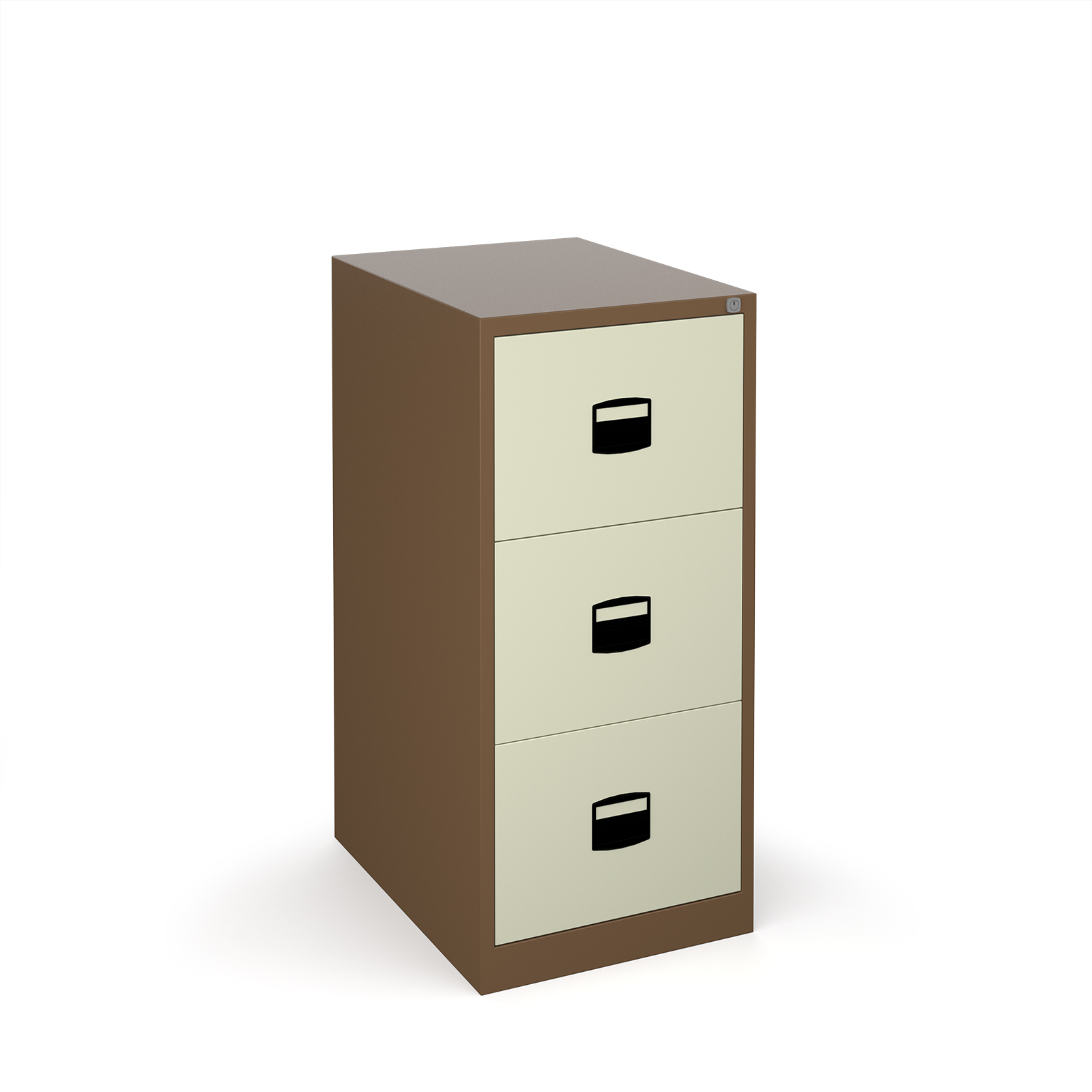 Steel Steel 3 drawer contract filing cabinet 1016mm high - coffee/cream