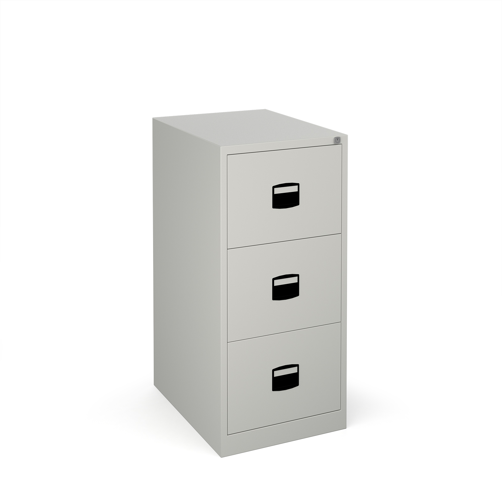 Steel 3 drawer contract filing cabinet 1016mm high - goose grey