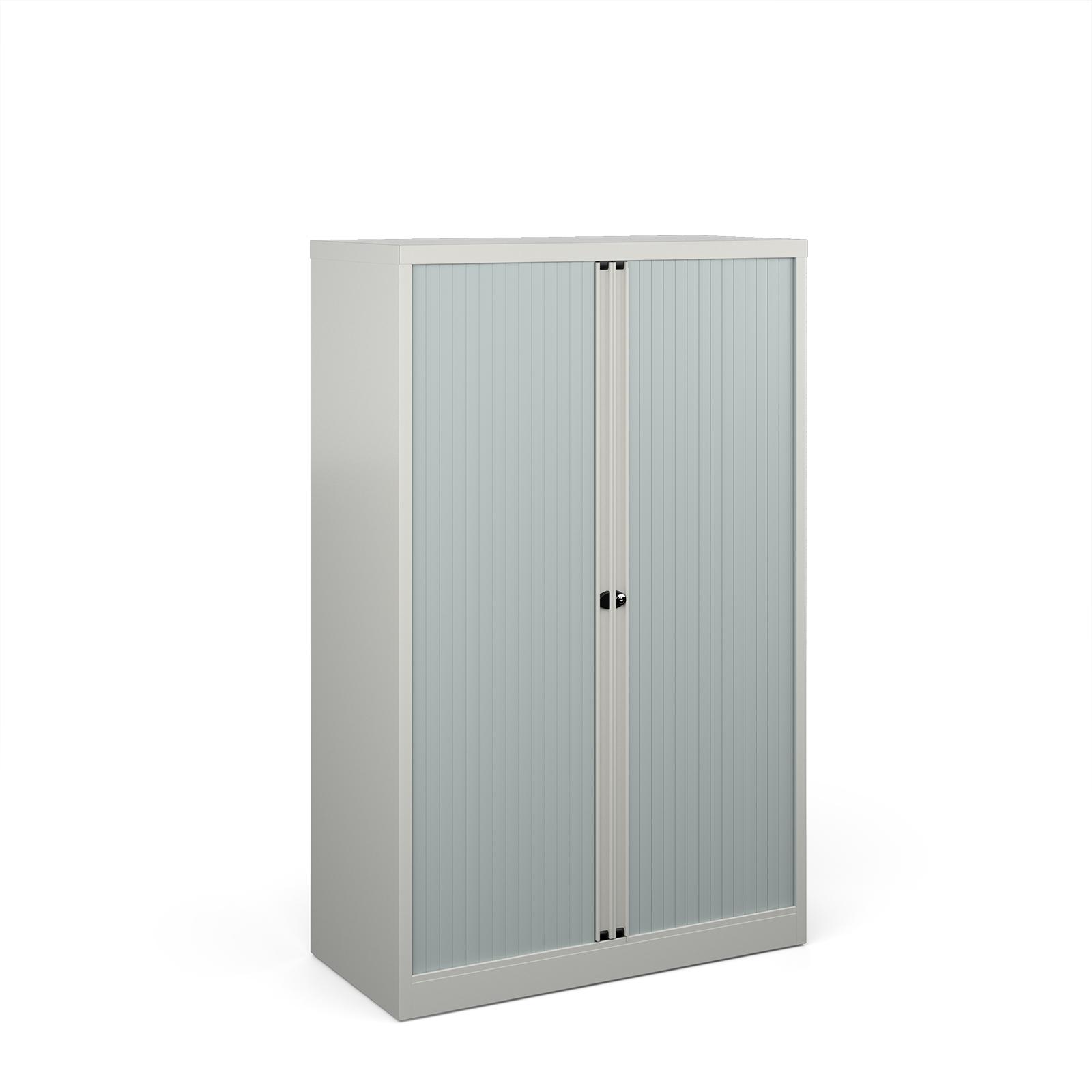 Over 1200mm High Bisley systems storage medium tambour cupboard 1570mm high - goose grey
