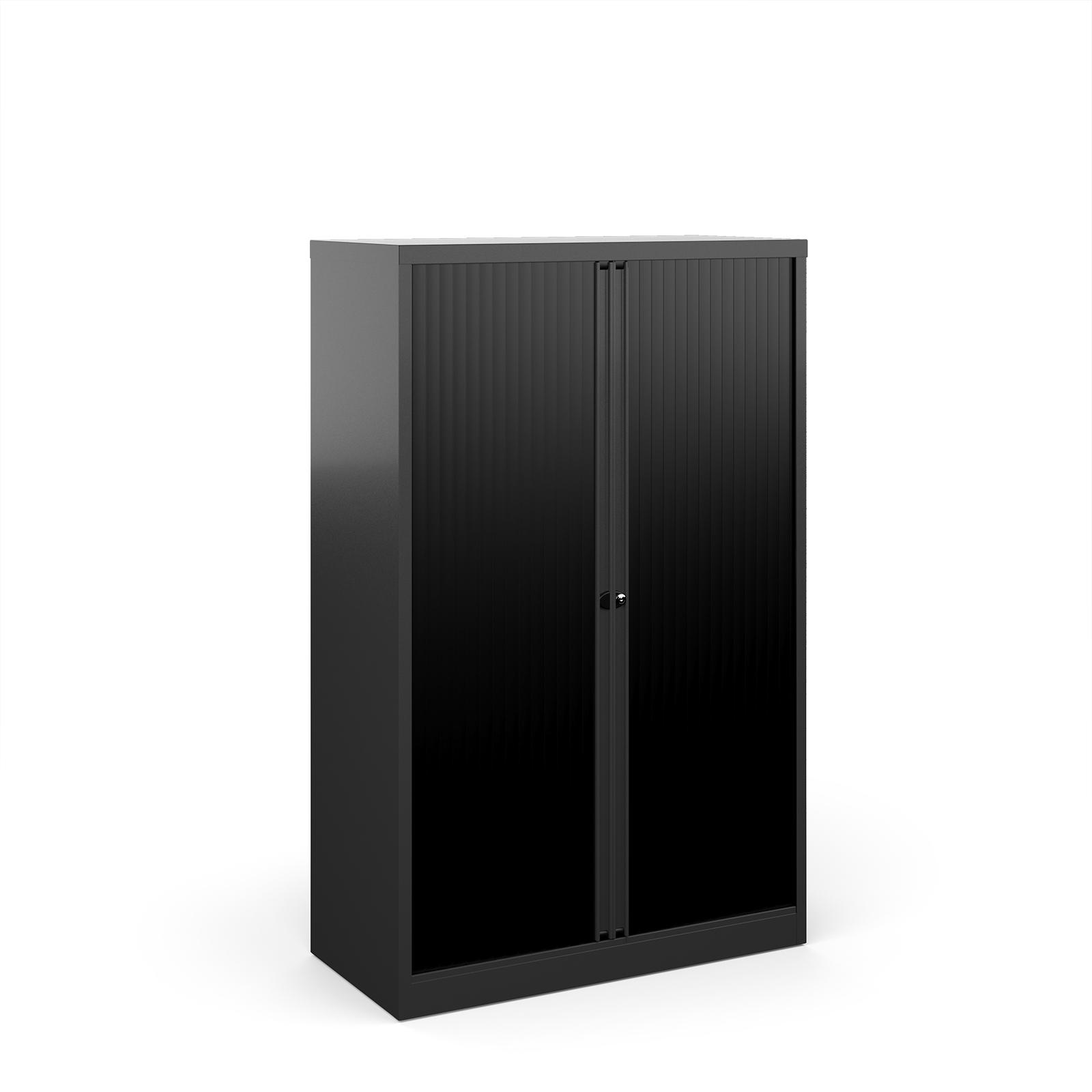 Over 1200mm High Bisley systems storage medium tambour cupboard 1570mm high - black