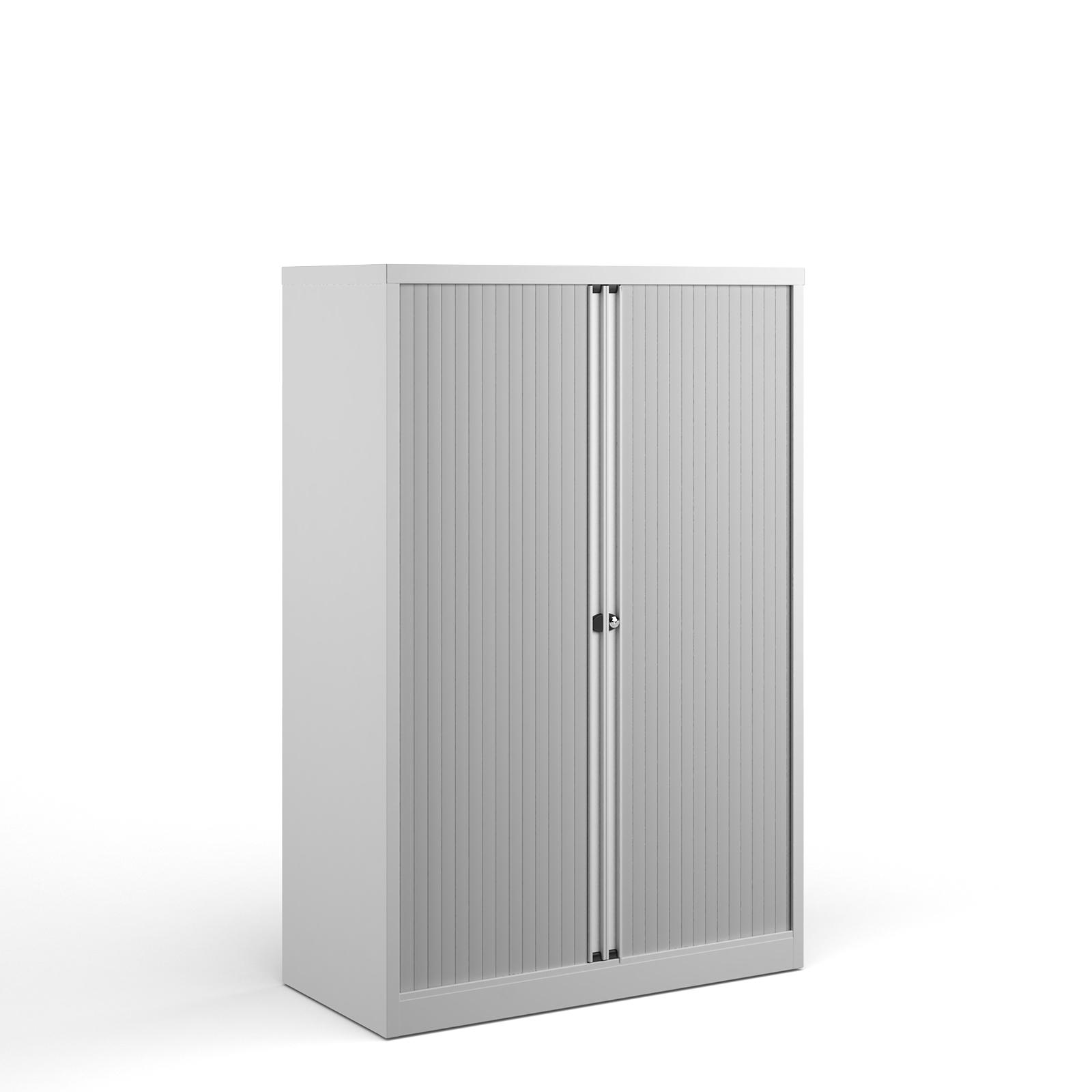 Over 1200mm High Bisley systems storage medium tambour cupboard 1570mm high - white