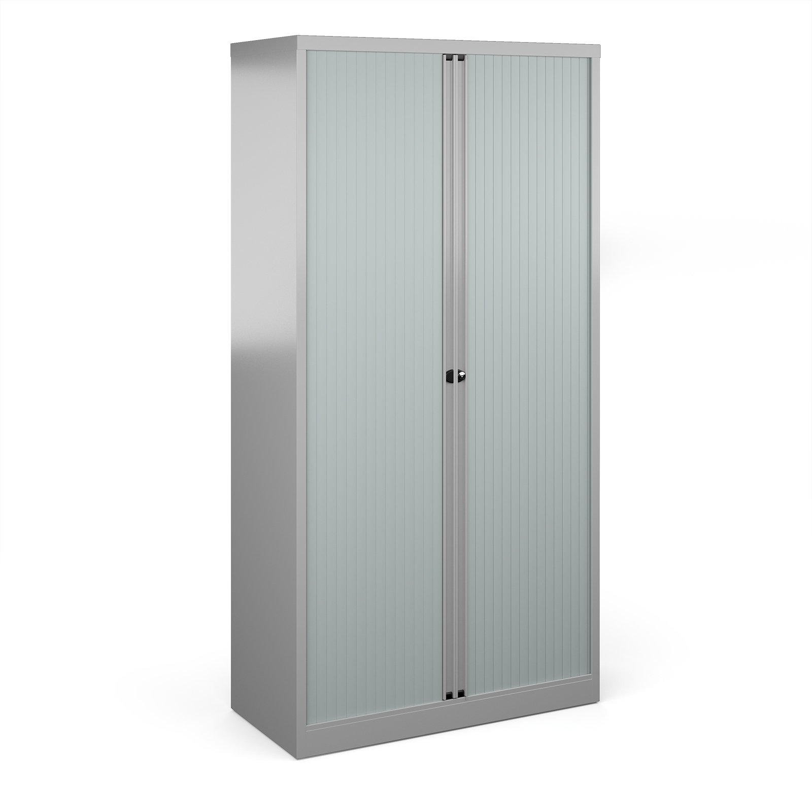 Over 1200mm High Bisley systems storage high tambour cupboard 1970mm high - silver