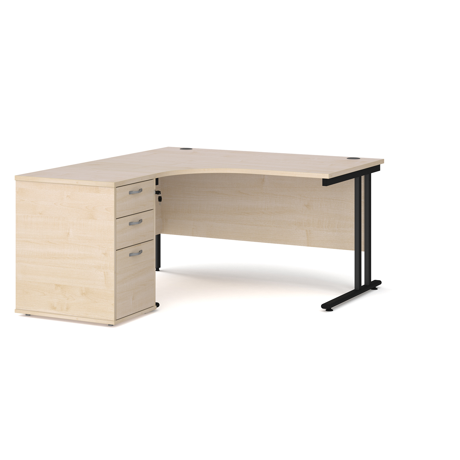 Left Handed Maestro 25 left hand ergonomic desk 1400mm with black cantilever frame and desk high pedestal - maple