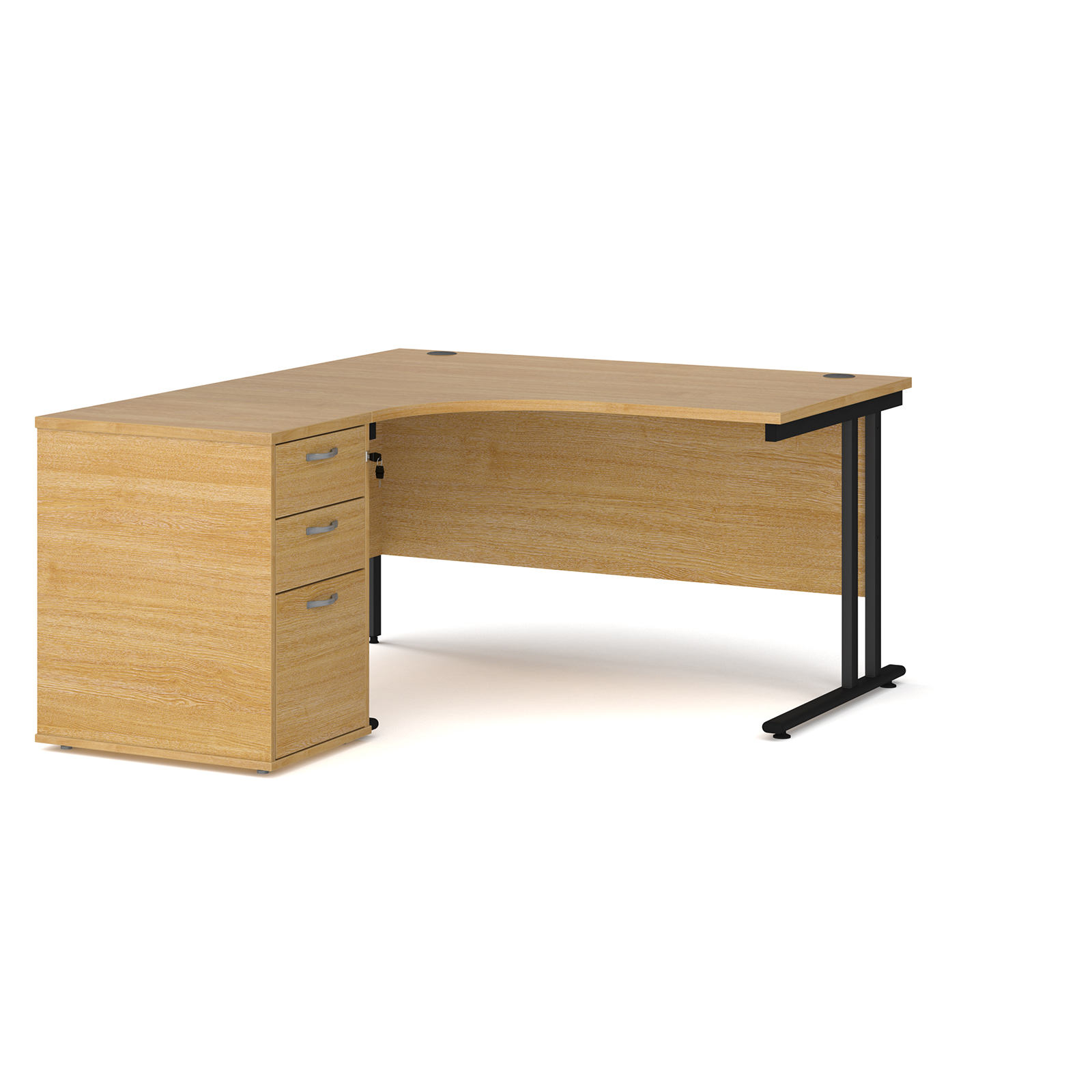Left Handed Maestro 25 left hand ergonomic desk 1400mm with black cantilever frame and desk high pedestal - oak