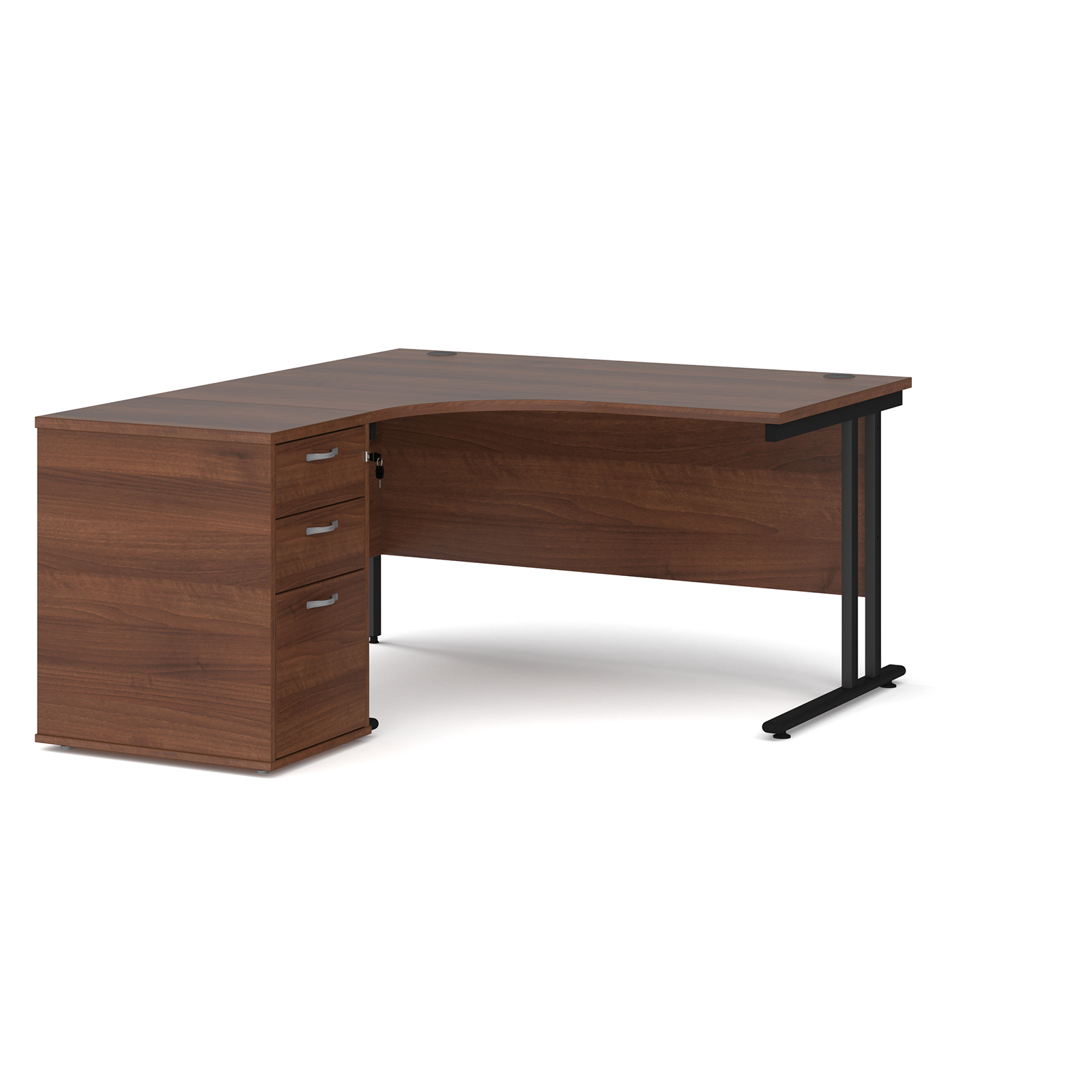Left Handed Maestro 25 left hand ergonomic desk 1400mm with black cantilever frame and desk high pedestal - walnut