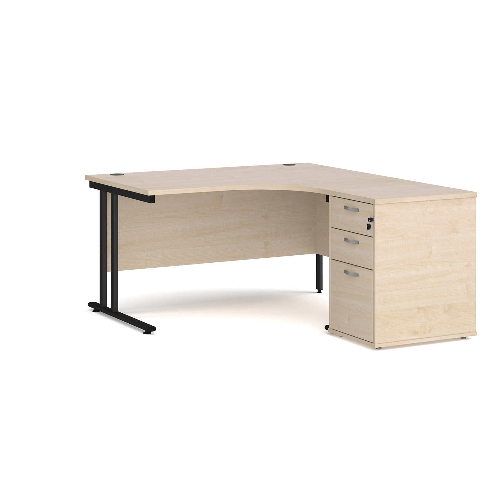 Right Handed Maestro 25 right hand ergonomic desk 1400mm with black cantilever frame and desk high pedestal - maple