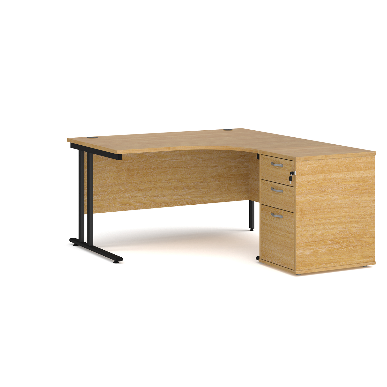 Right Handed Maestro 25 right hand ergonomic desk 1400mm with black cantilever frame and desk high pedestal - oak