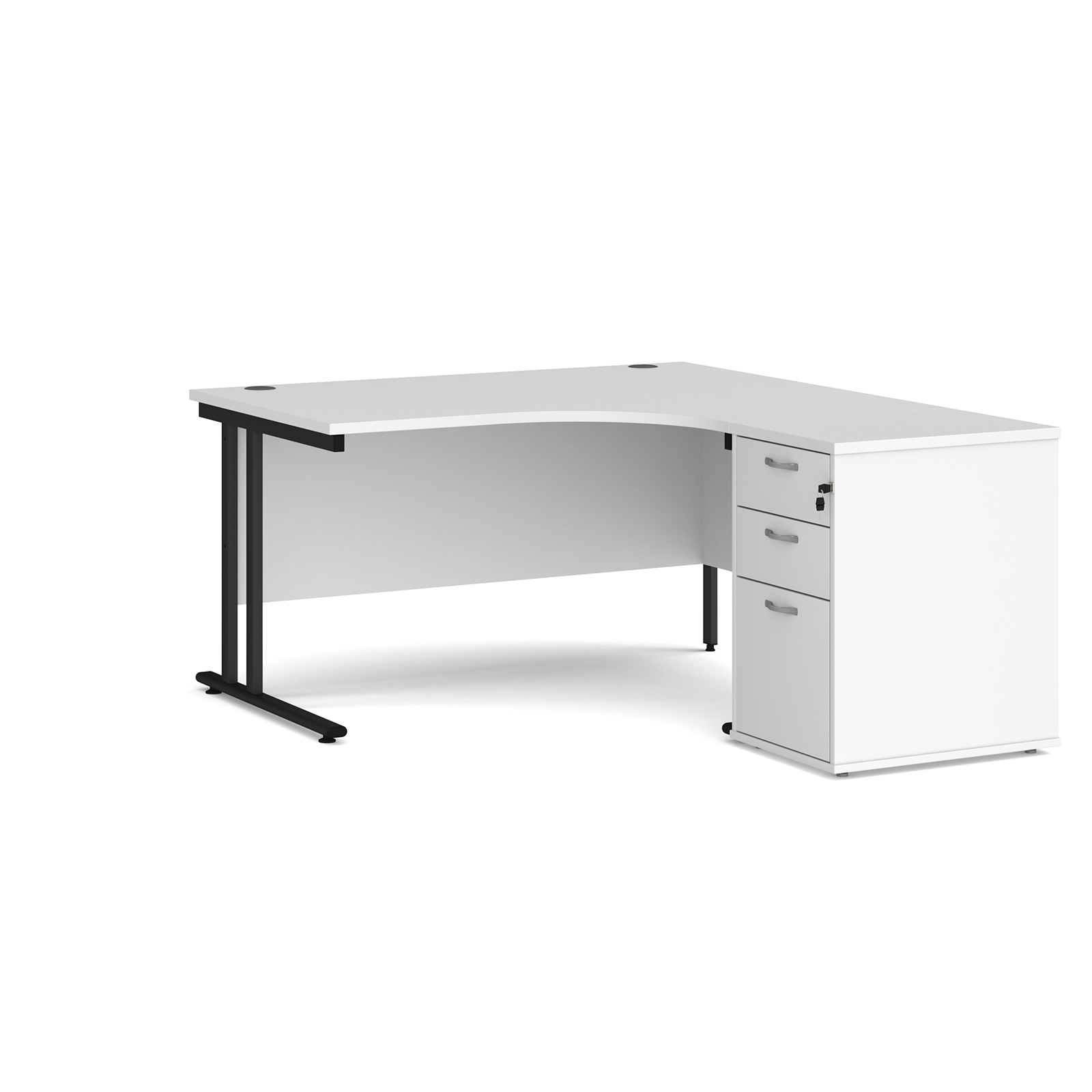 Right Handed Maestro 25 right hand ergonomic desk 1400mm with black cantilever frame and desk high pedestal - white