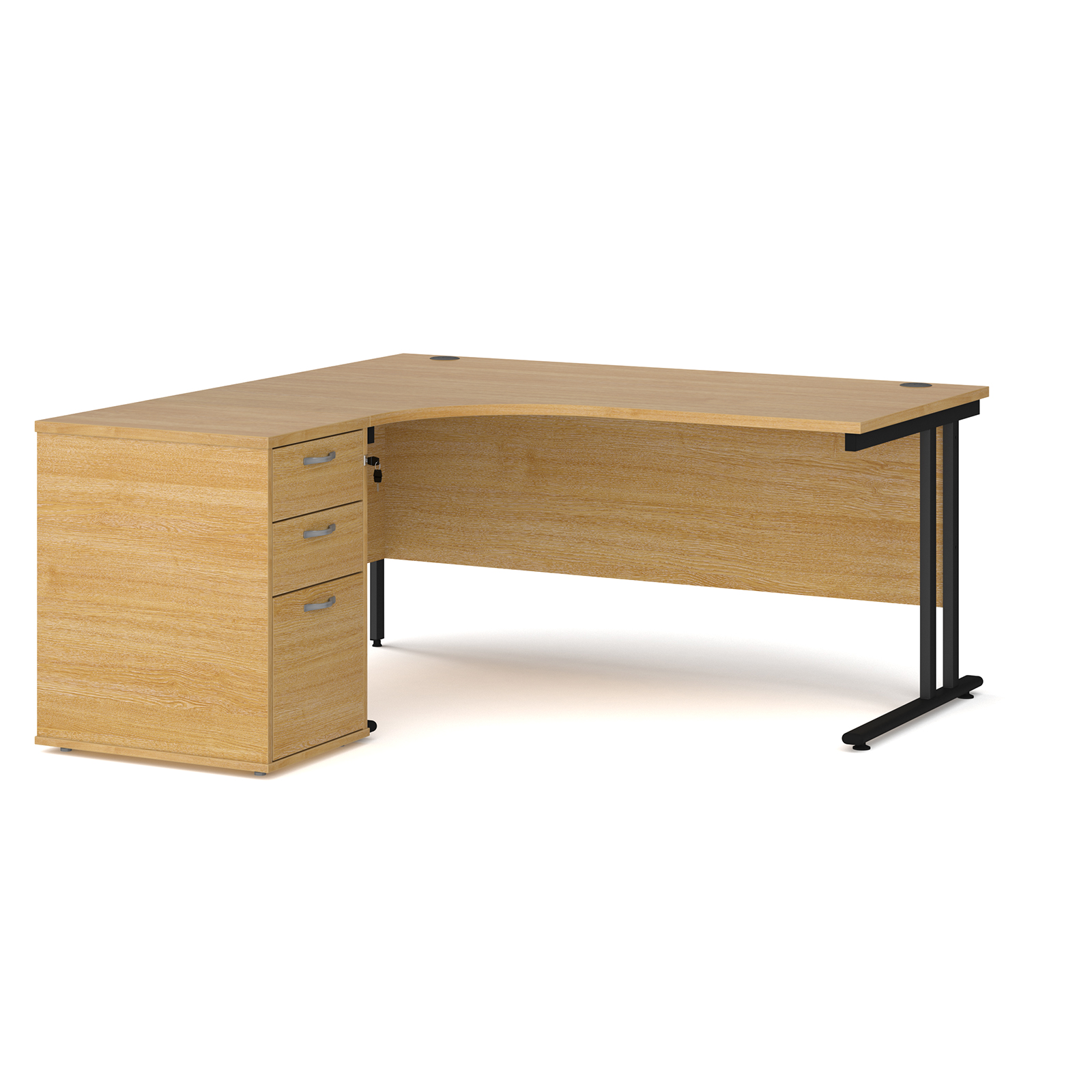 Left Handed Maestro 25 left hand ergonomic desk 1600mm with black cantilever frame and desk high pedestal - oak