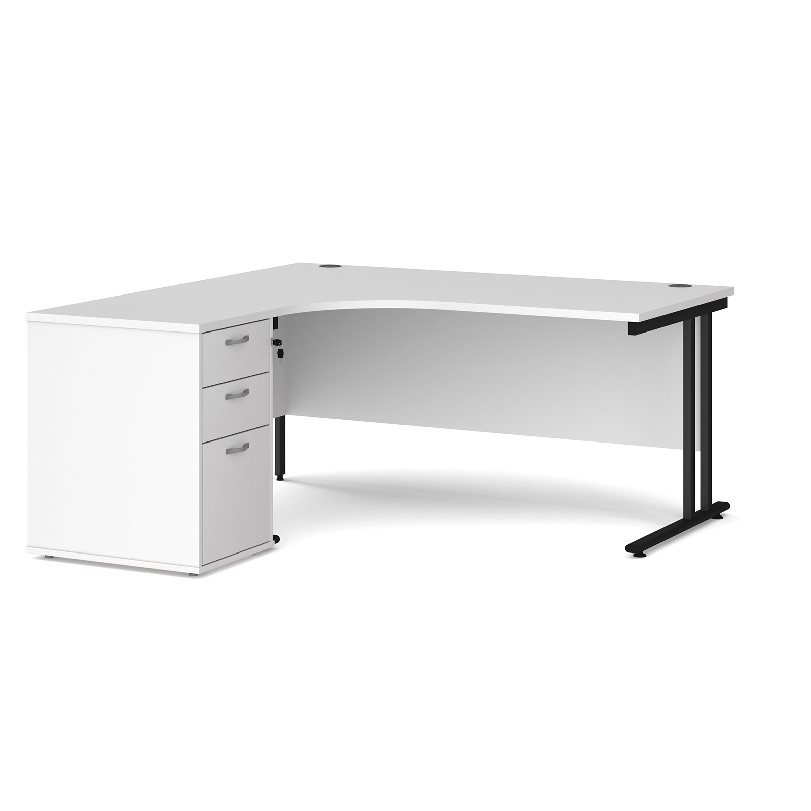Left Handed Maestro 25 left hand ergonomic desk 1600mm with black cantilever frame and desk high pedestal - white
