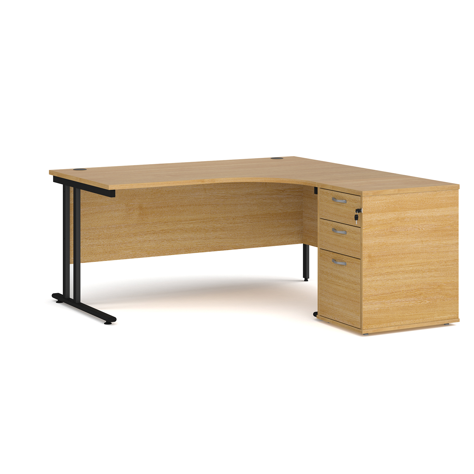 Right Handed Maestro 25 right hand ergonomic desk 1600mm with black cantilever frame and desk high pedestal - oak