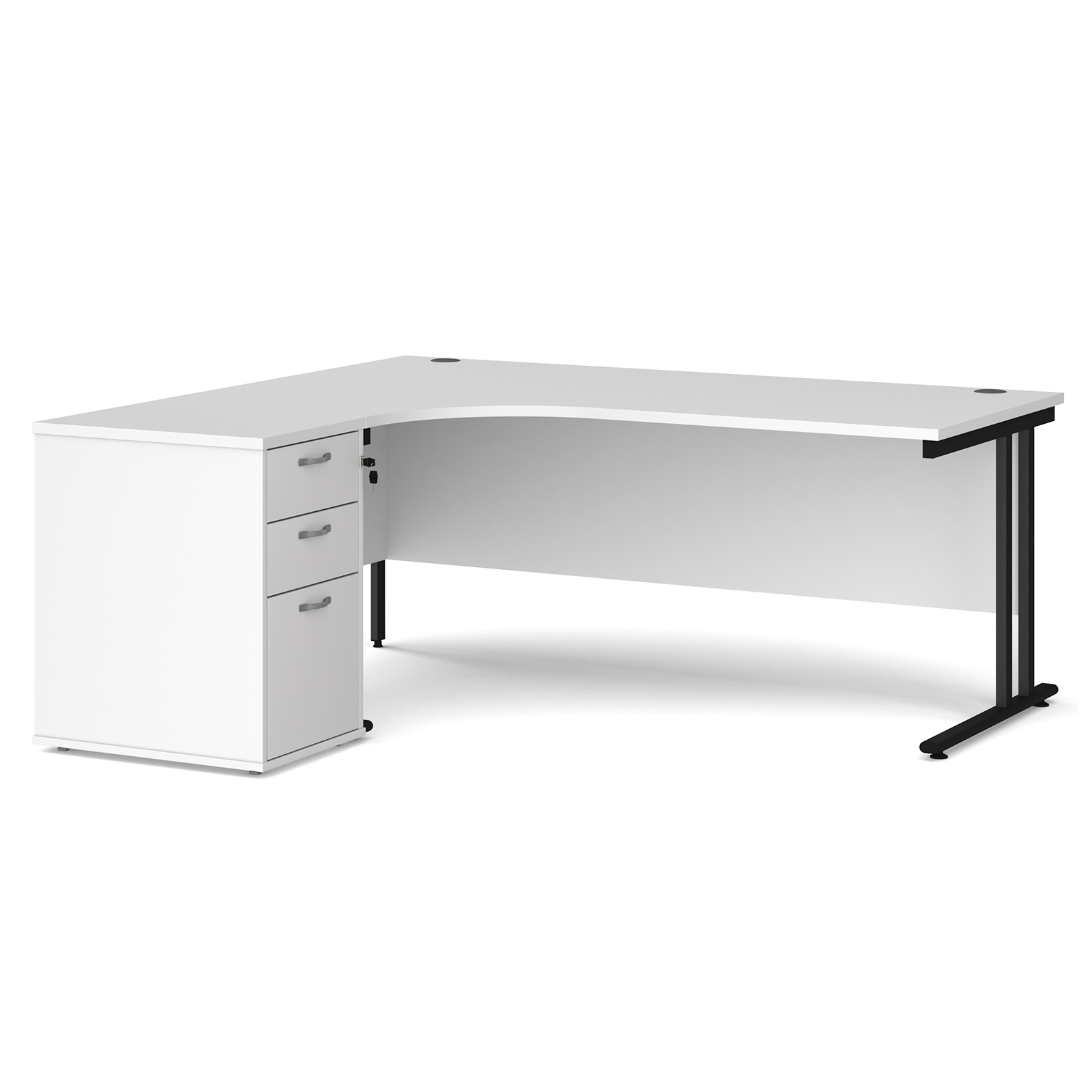 Left Handed Maestro 25 left hand ergonomic desk 1800mm with black cantilever frame and desk high pedestal - white