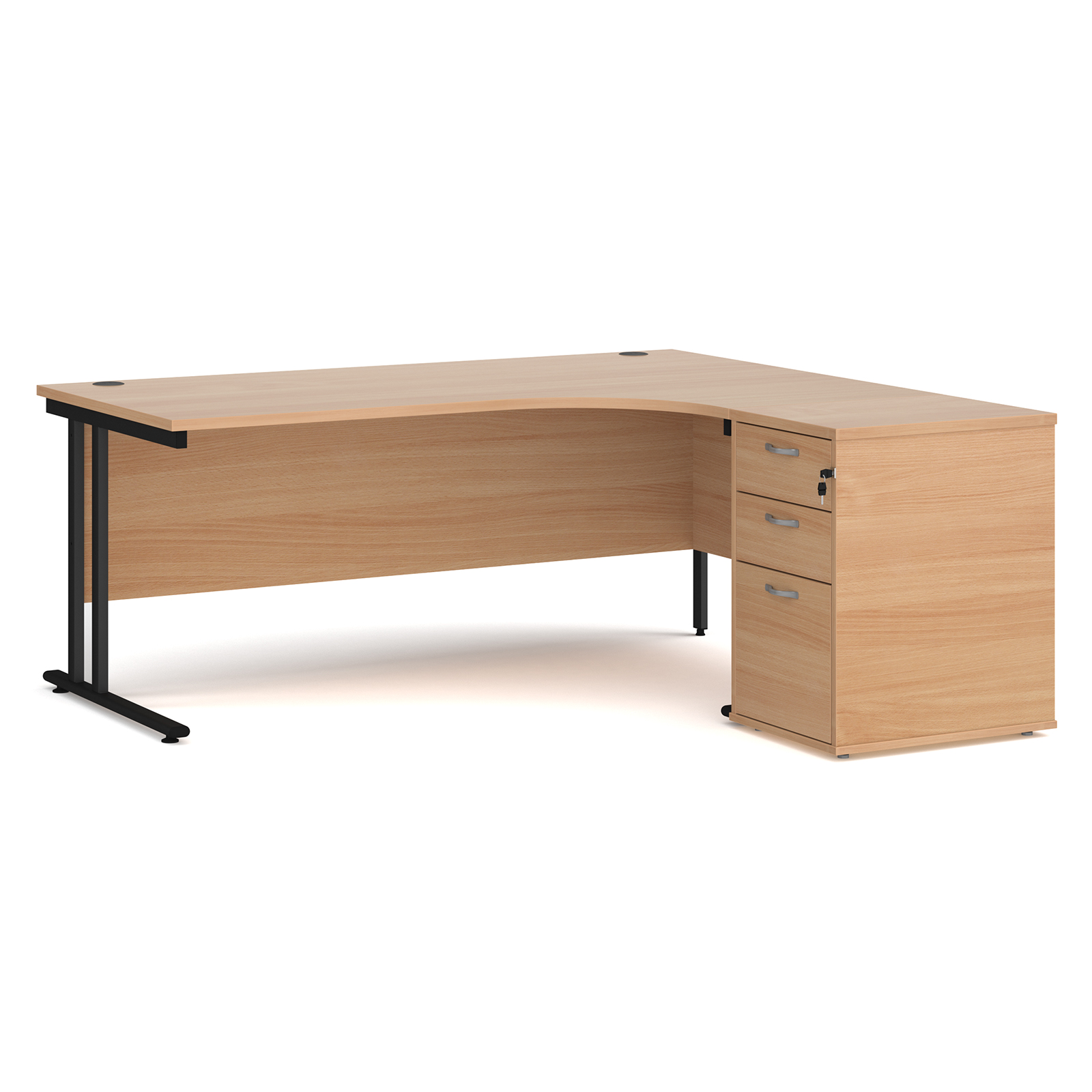Right Handed Maestro 25 right hand ergonomic desk 1800mm with black cantilever frame and desk high pedestal - beech
