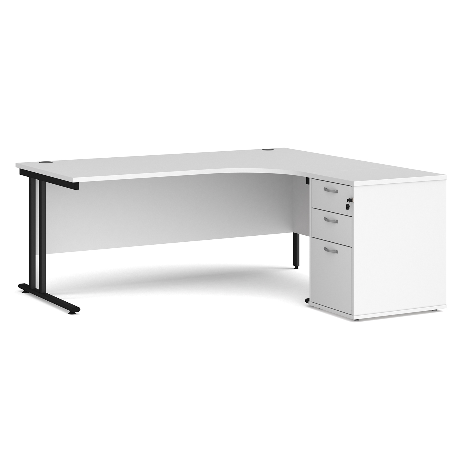 Right Handed Maestro 25 right hand ergonomic desk 1800mm with black cantilever frame and desk high pedestal - white