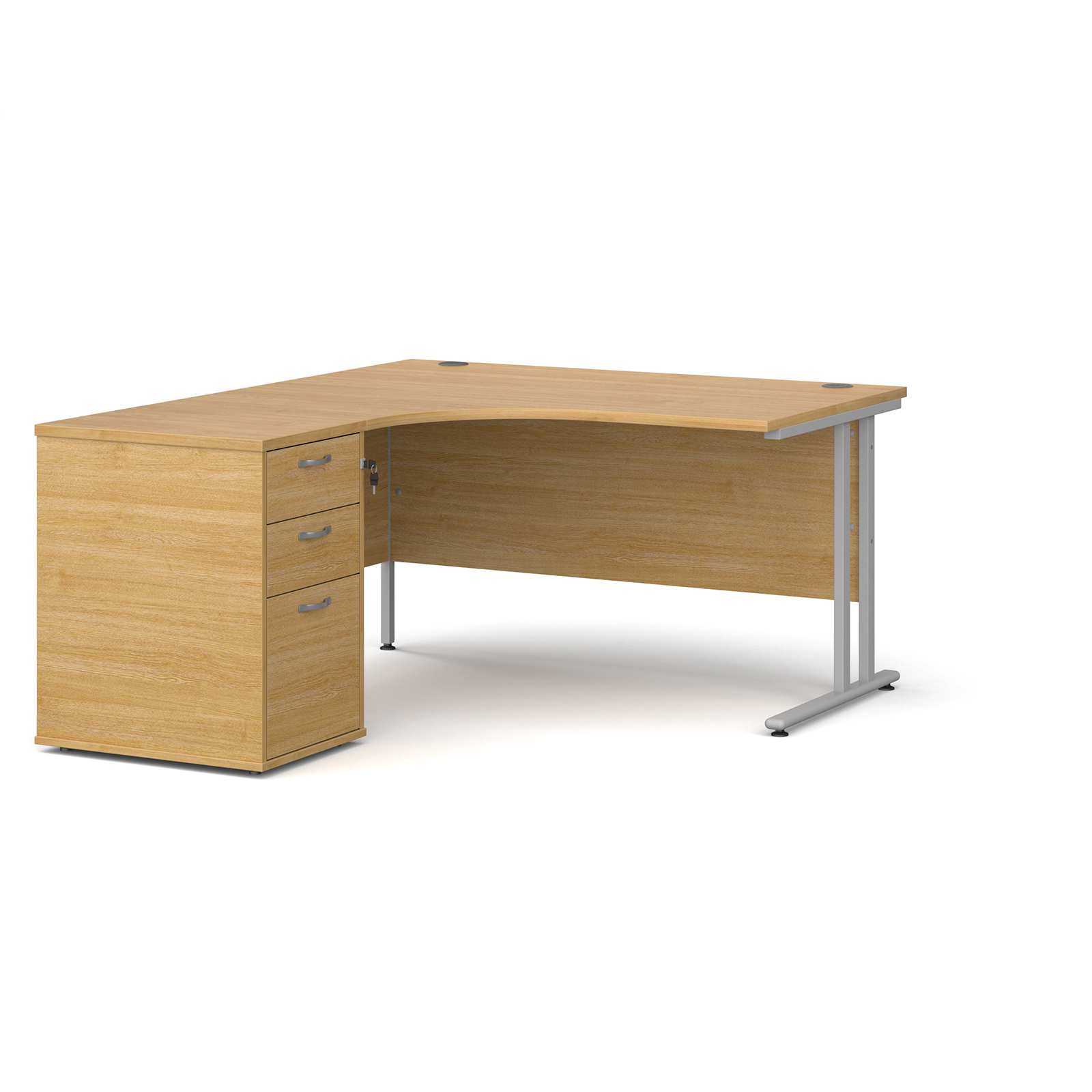 Left Handed Maestro 25 left hand ergonomic desk 1400mm with silver cantilever frame and desk high pedestal - oak