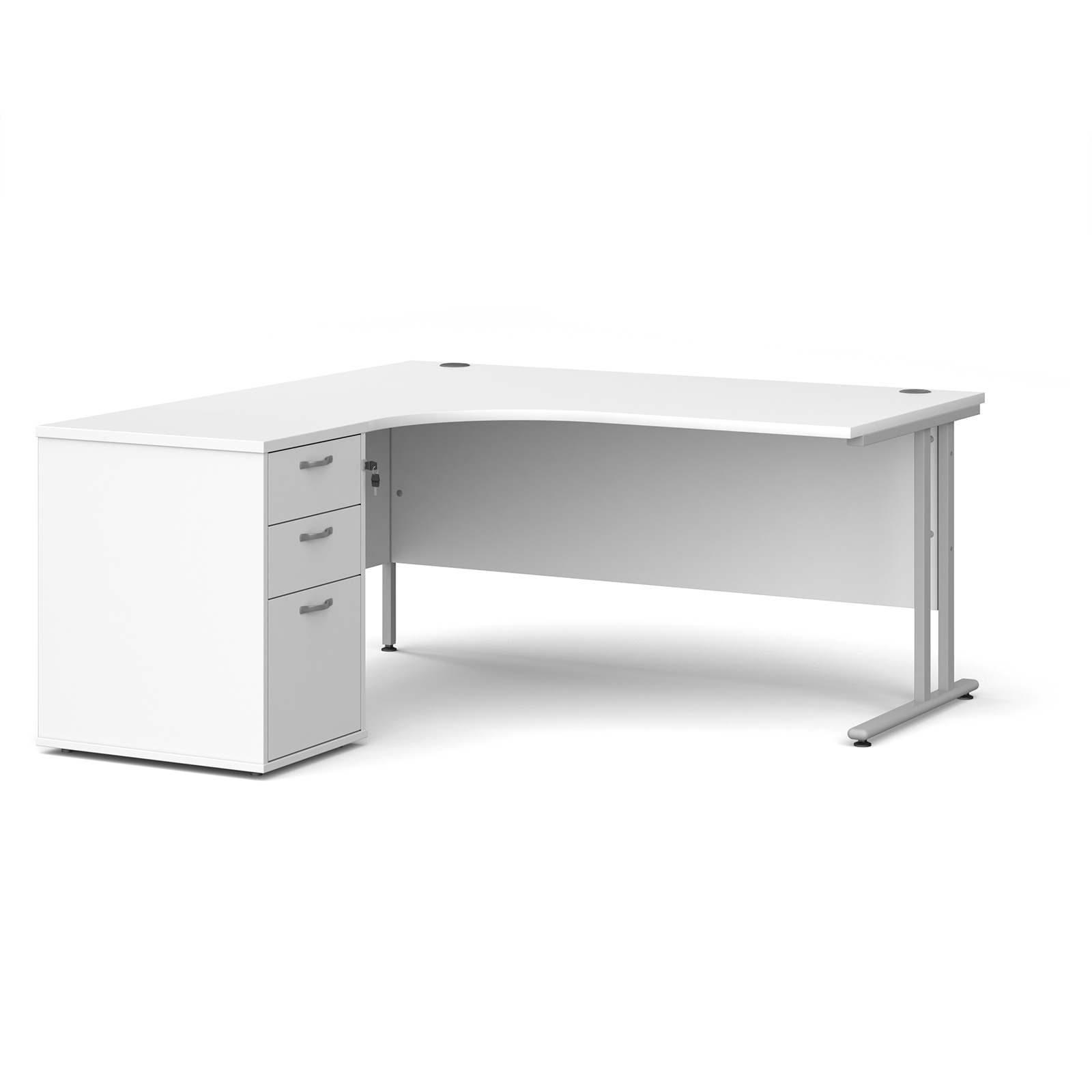 Left Handed Maestro 25 left hand ergonomic desk 1600mm with silver cantilever frame and desk high pedestal - white