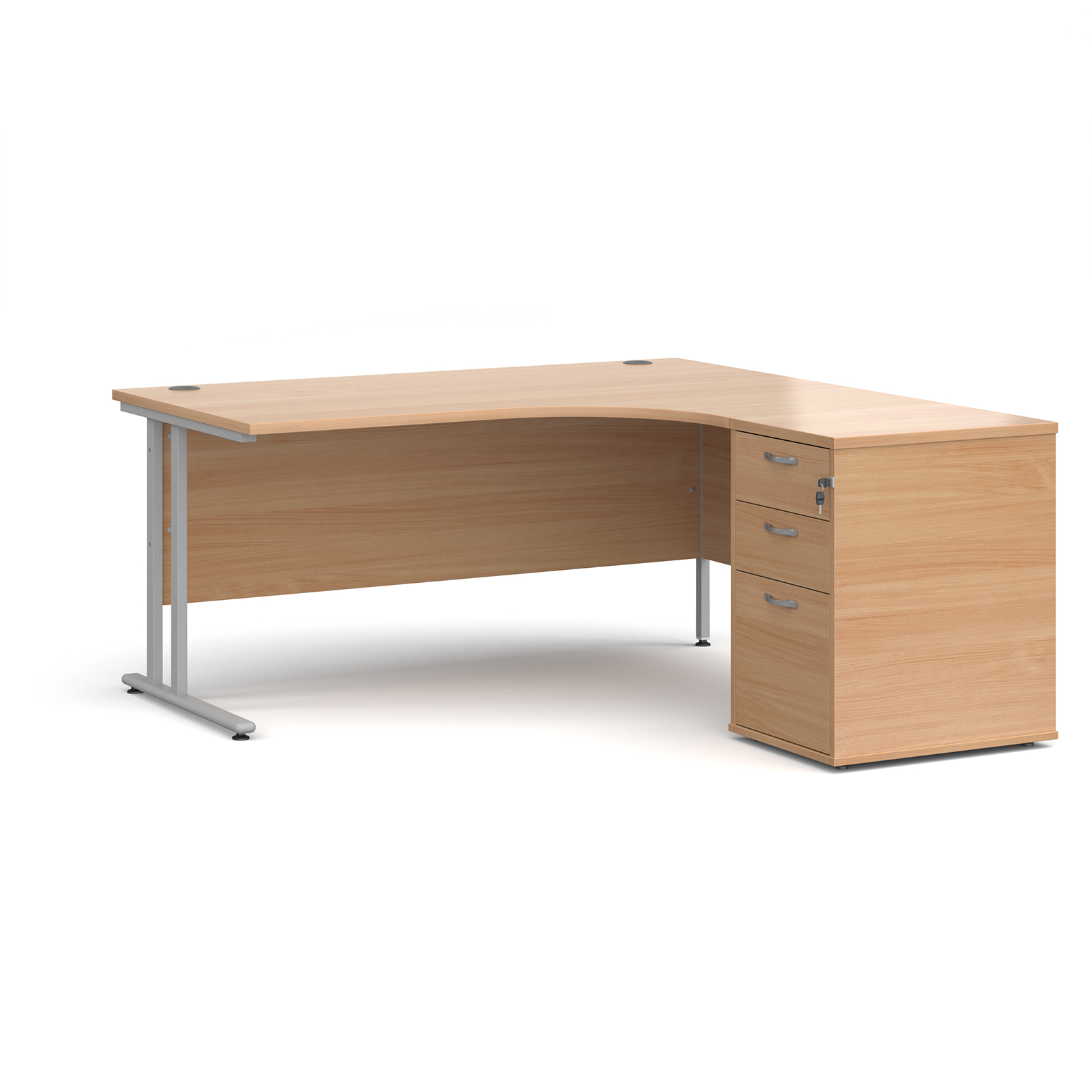 Right Handed Maestro 25 right hand ergonomic desk 1600mm with silver cantilever frame and desk high pedestal - beech