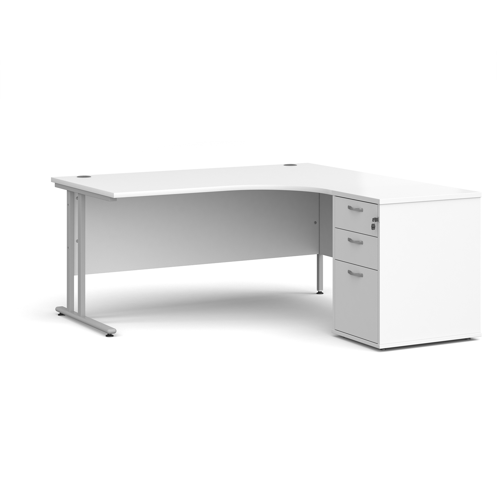Right Handed Maestro 25 right hand ergonomic desk 1600mm with silver cantilever frame and desk high pedestal - white