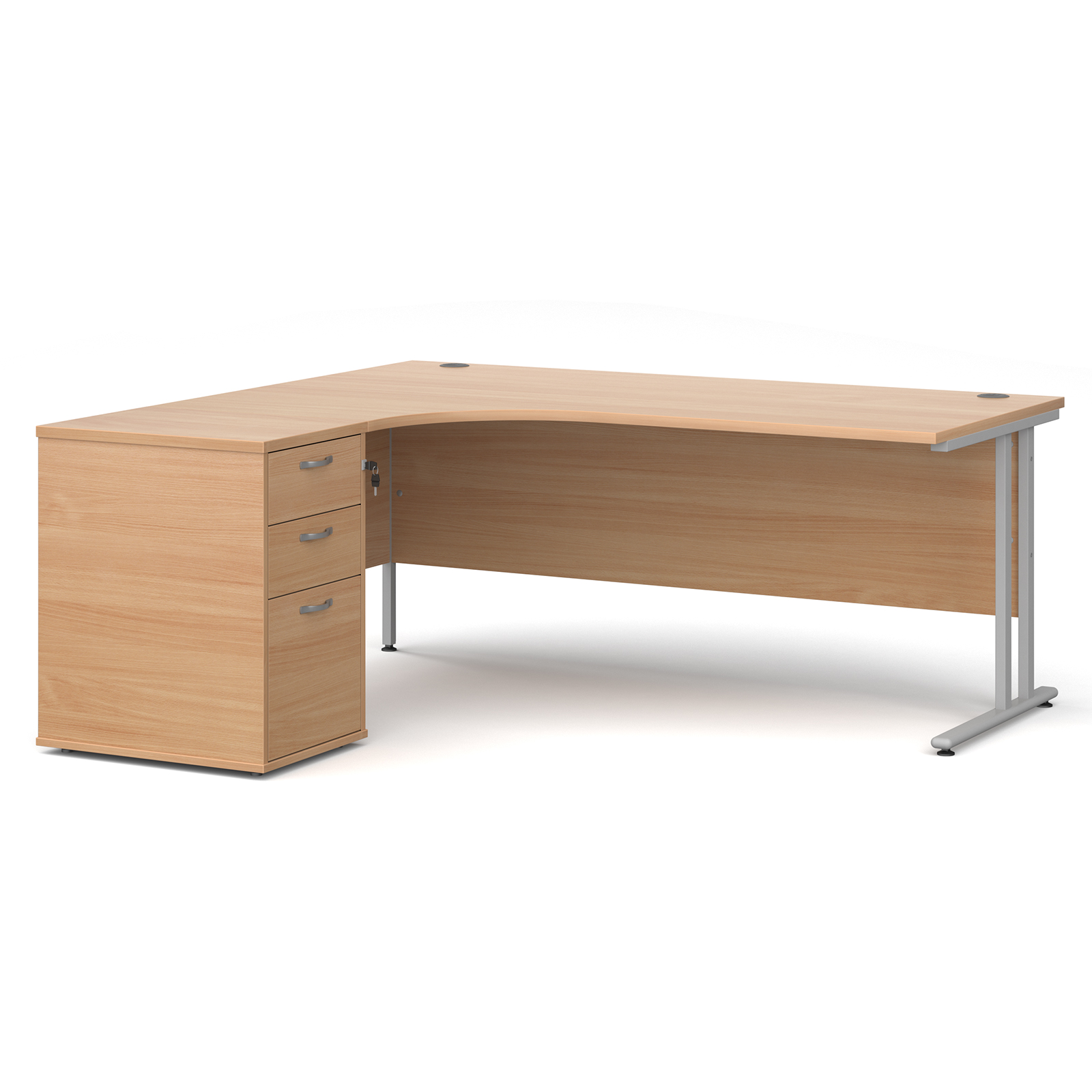 Left Handed Maestro 25 left hand ergonomic desk 1800mm with silver cantilever frame and desk high pedestal - beech