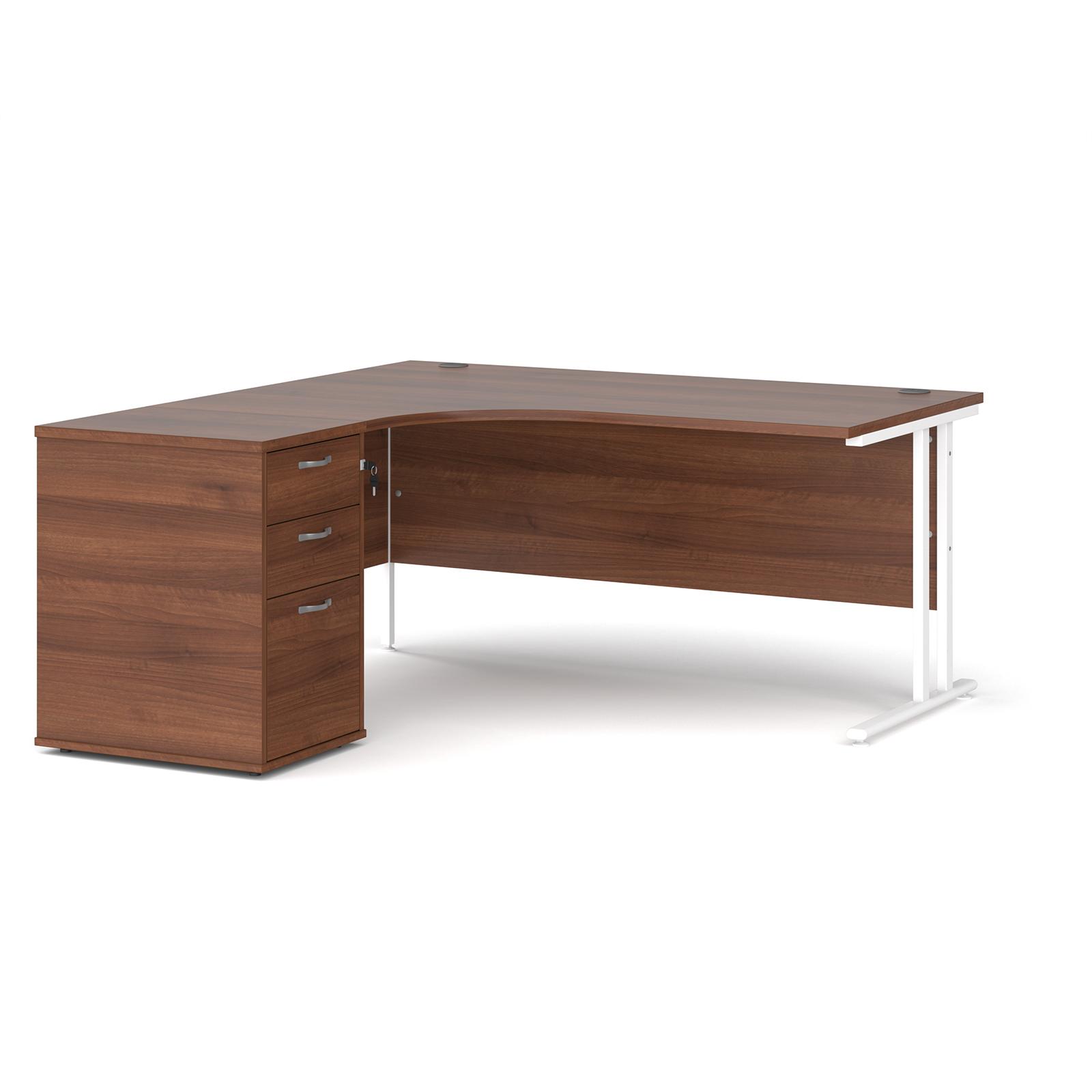 Left Handed Maestro 25 left hand ergonomic desk 1600mm with white cantilever frame and desk high pedestal - walnut