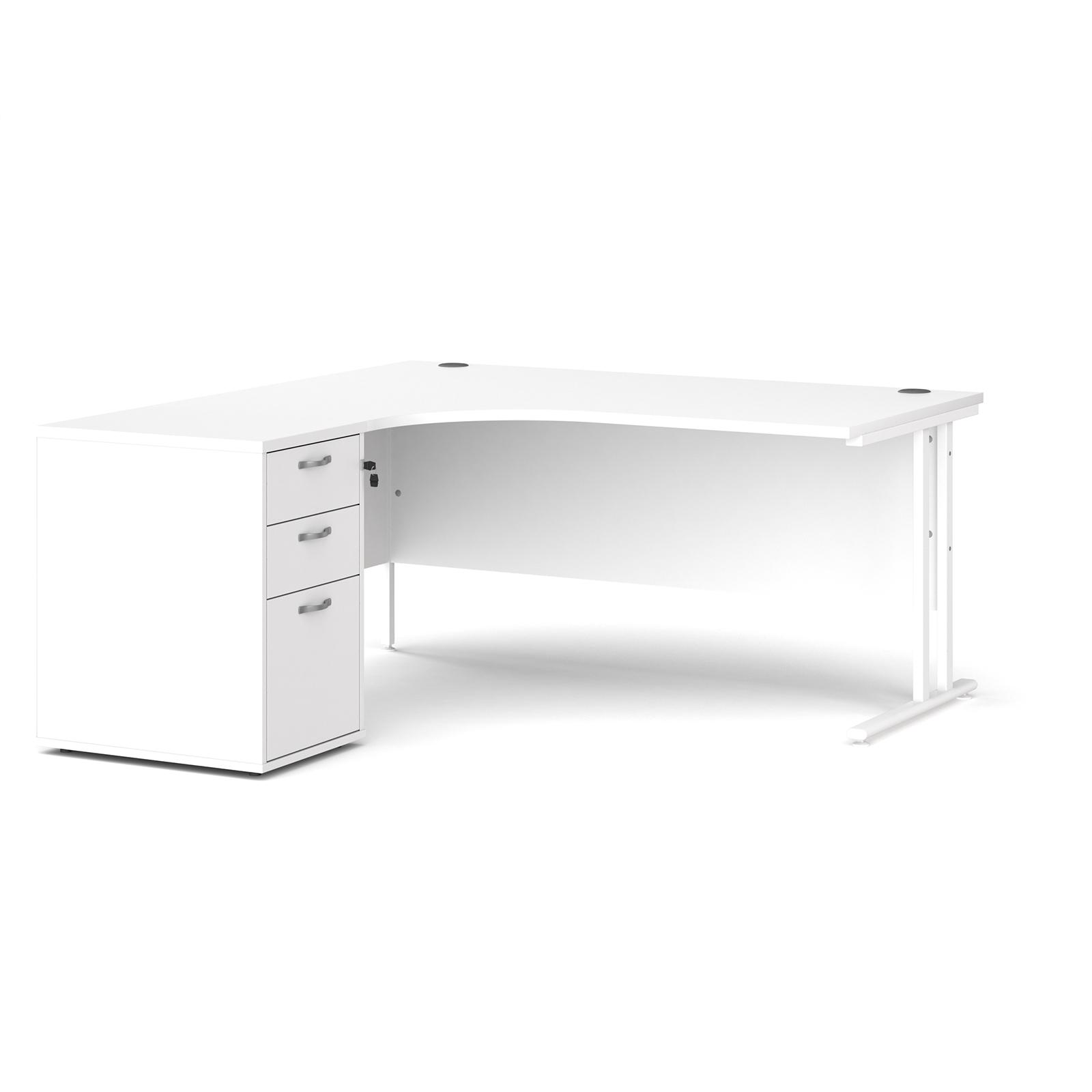 Left Handed Maestro 25 left hand ergonomic desk 1600mm with white cantilever frame and desk high pedestal - white