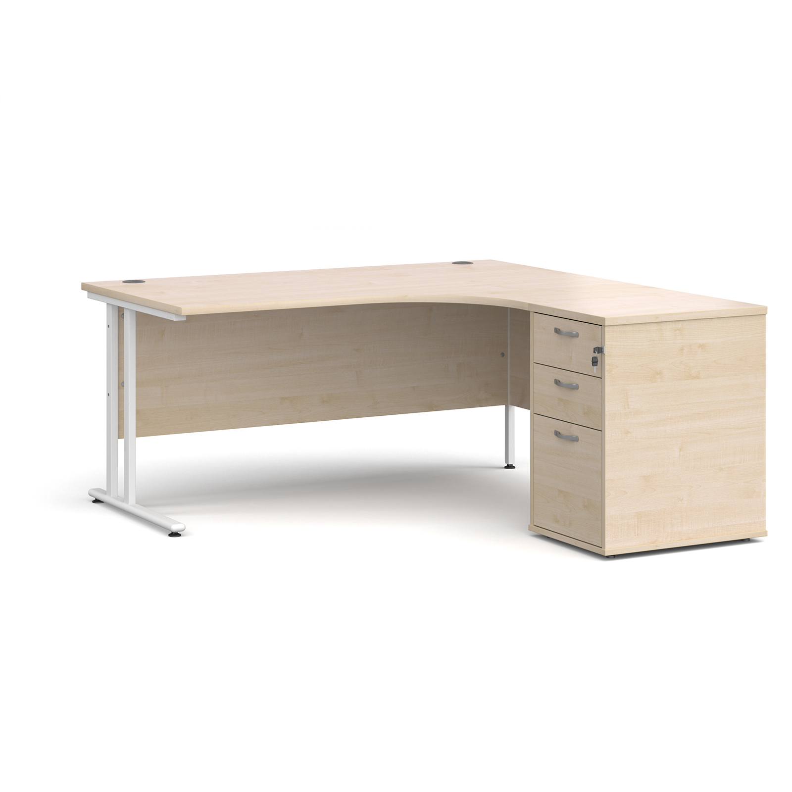 Right Handed Maestro 25 right hand ergonomic desk 1600mm with white cantilever frame and desk high pedestal - maple
